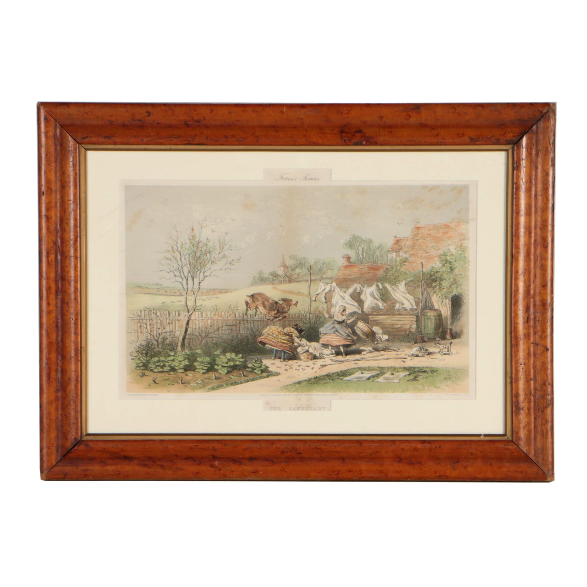 """H.K. Browne Color Lithograph """"The Sanctuary"""", 1863"""