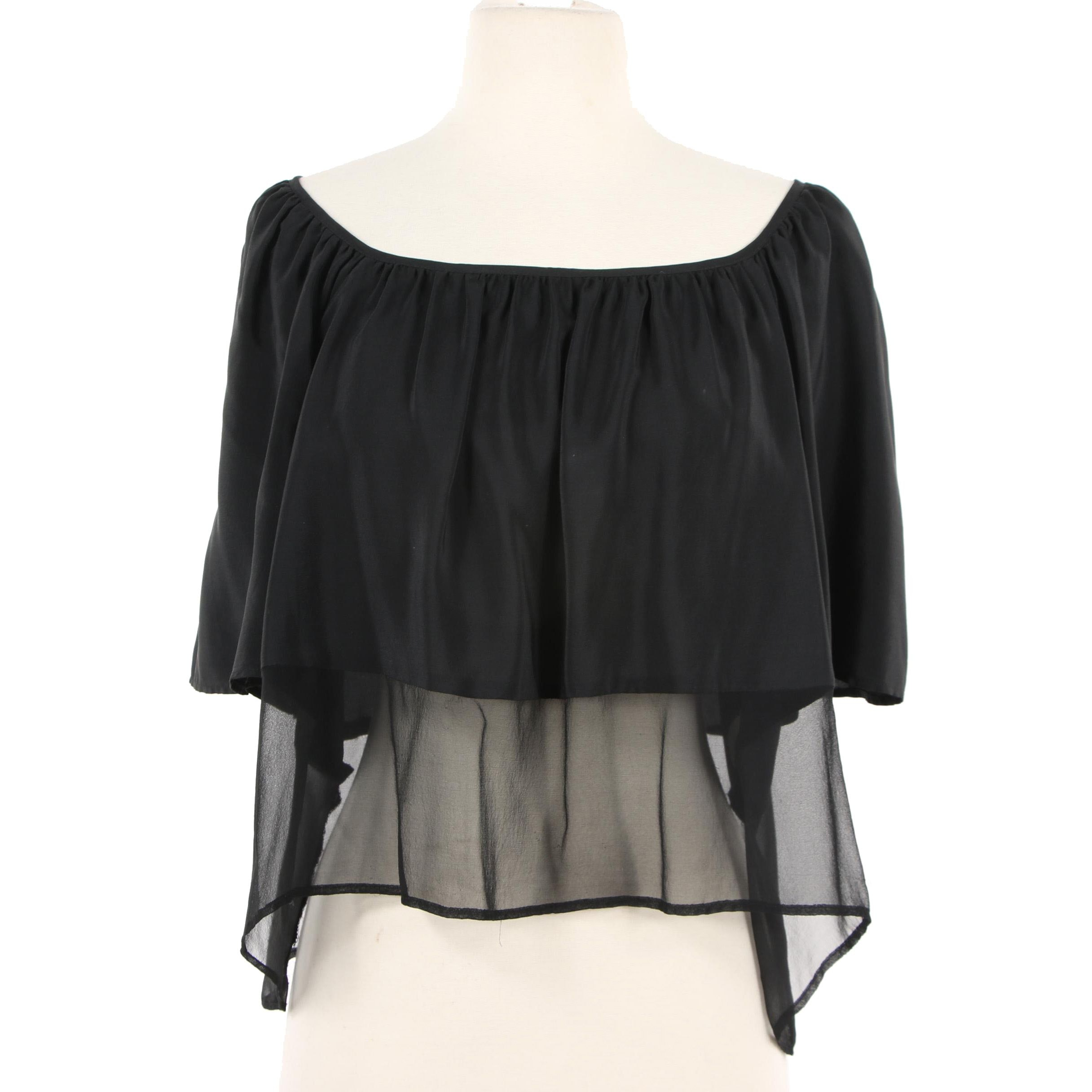 Amanda Uprichard Black Silk Tiered Illusion Crop Top