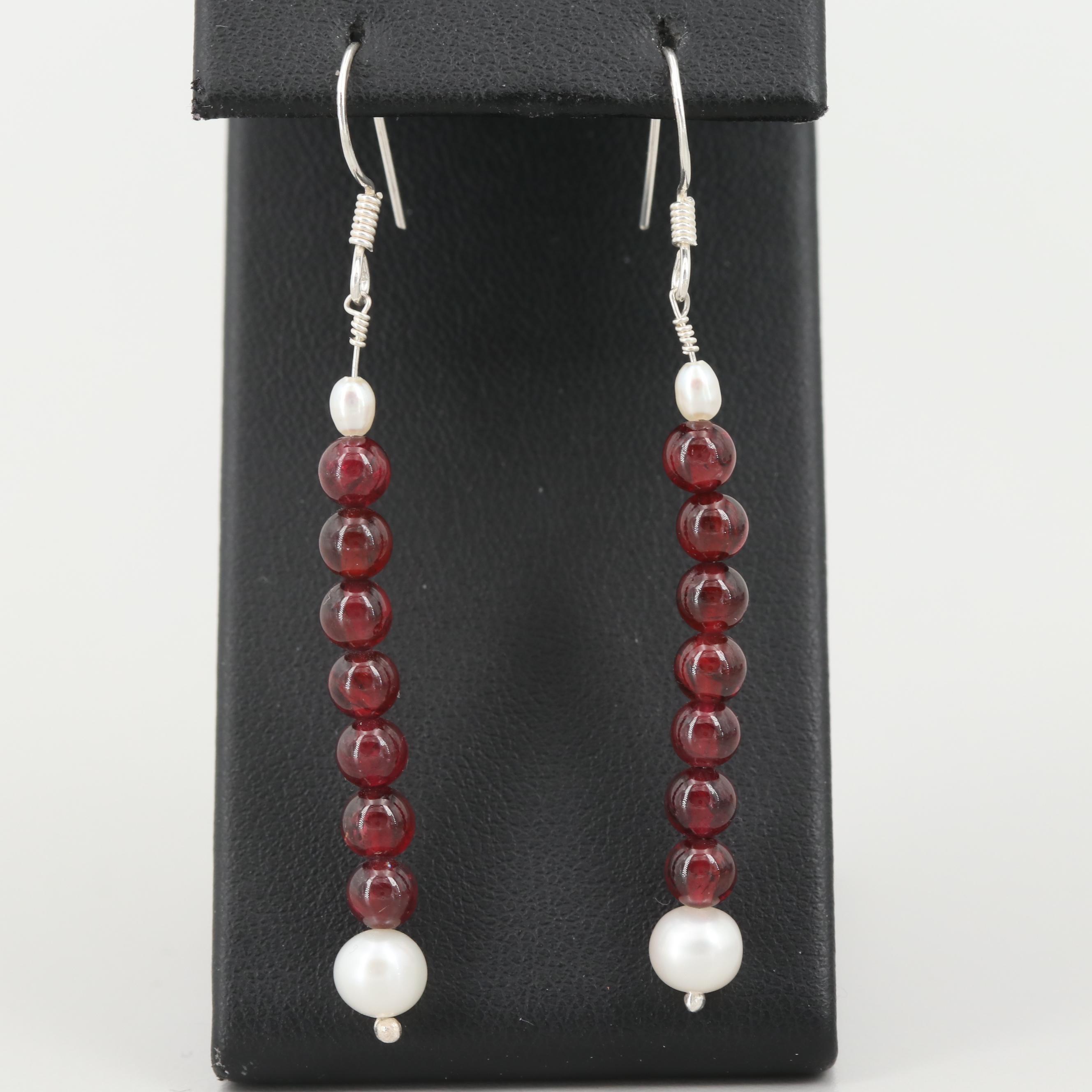 Sterling Silver Garnet and Cultured Pearl Earrings