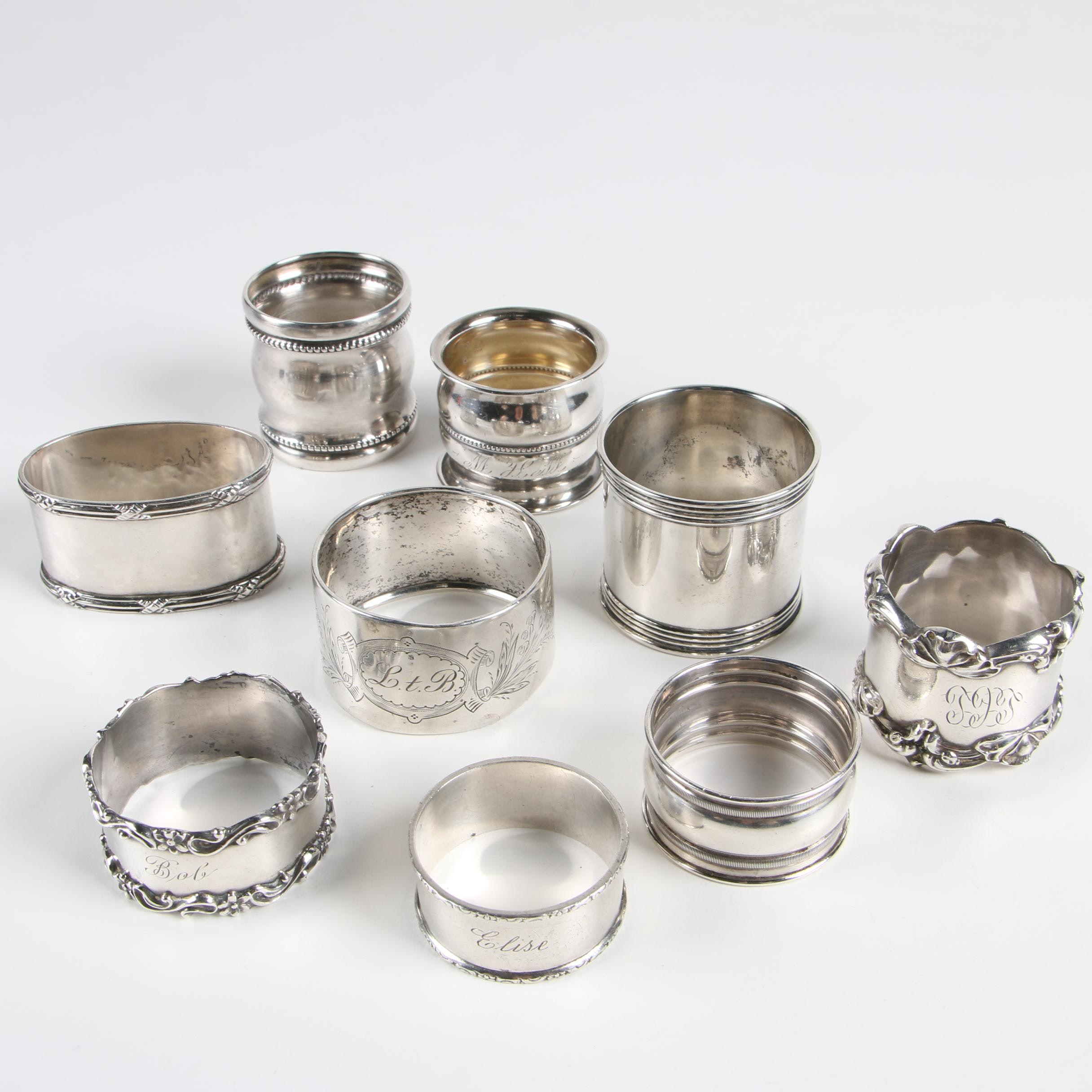 Sterling Silver and 800 Silver Napkin Rings