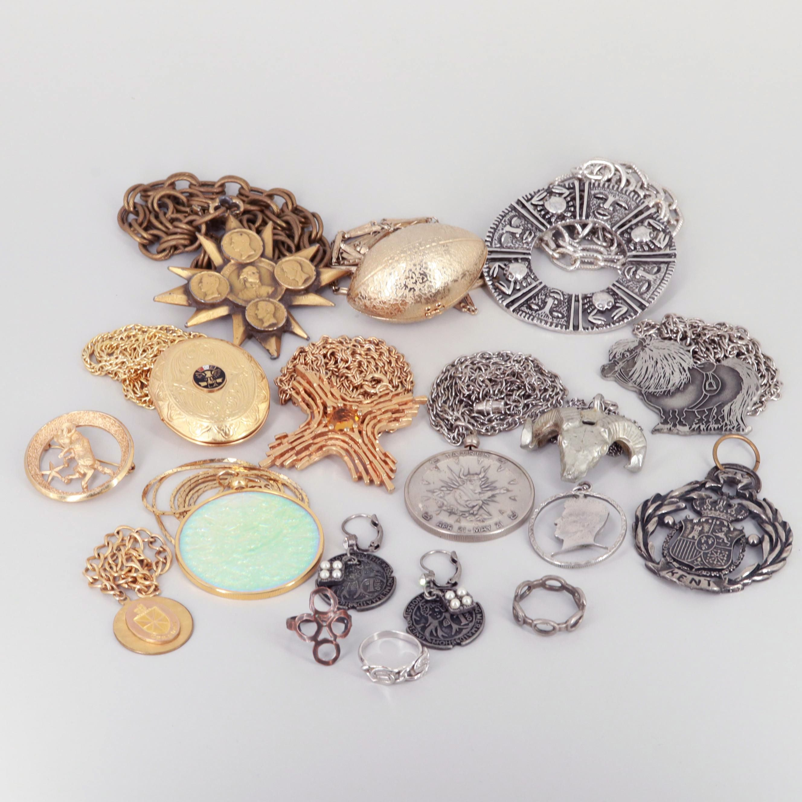 Assortment of Silver and Gold Tone Glass and Enamel Costume Jewelry