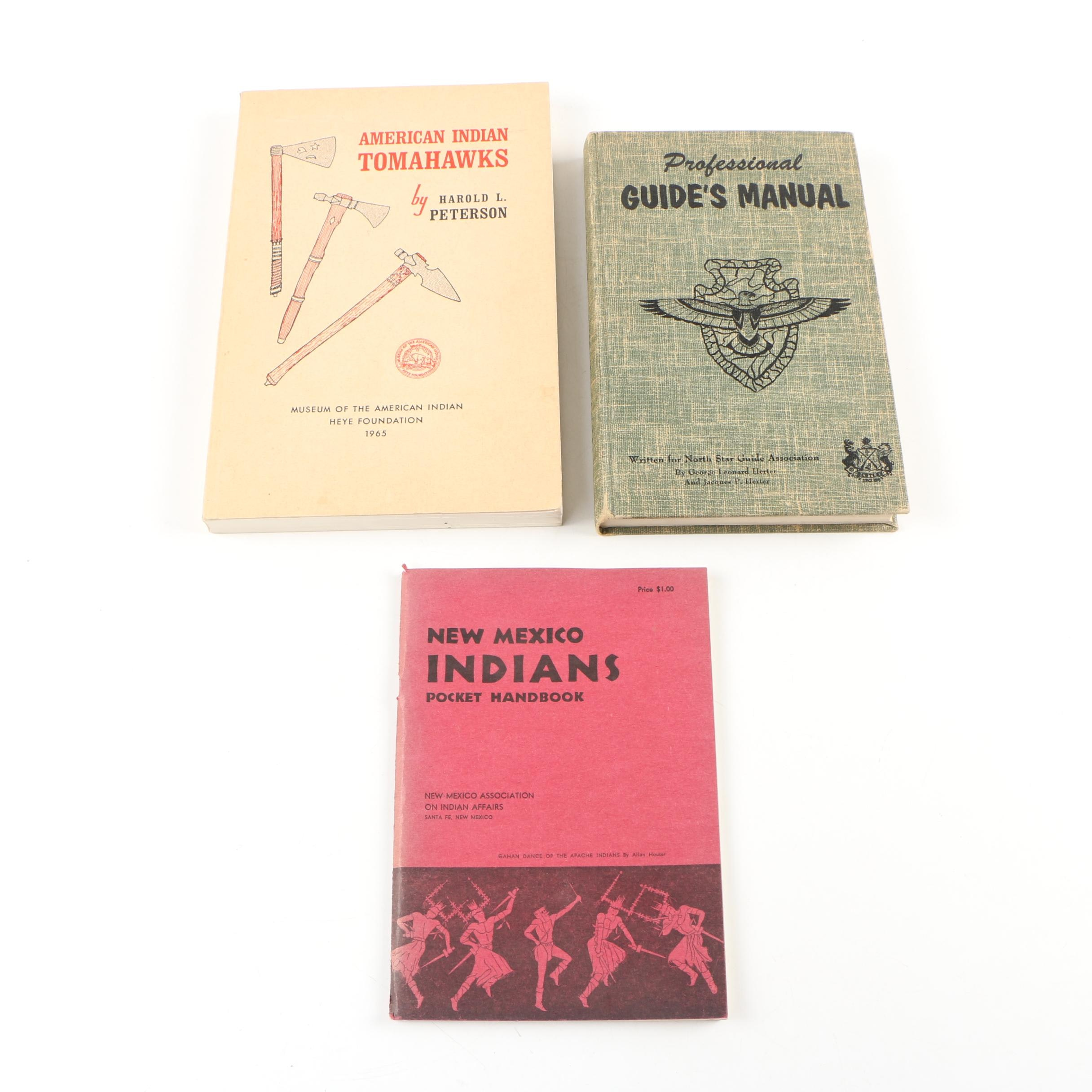"""Books on Native Americans featuring """"American Indian Tomahawks"""" by Peterson"""