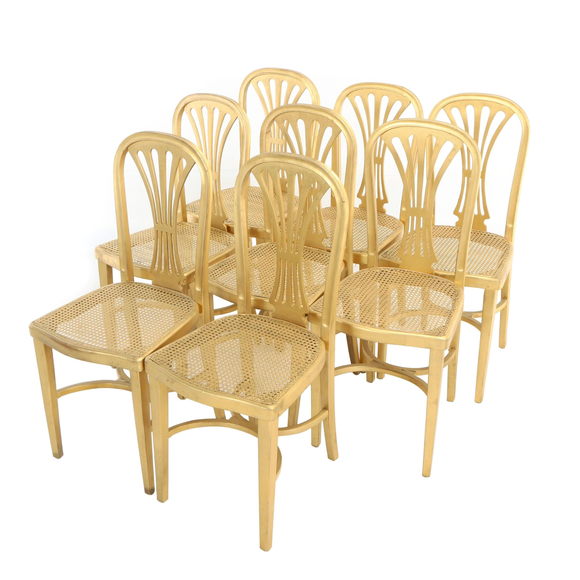 Eight J. & J. Kohn Giltwood and Caned Side Chairs, Early 20th Century
