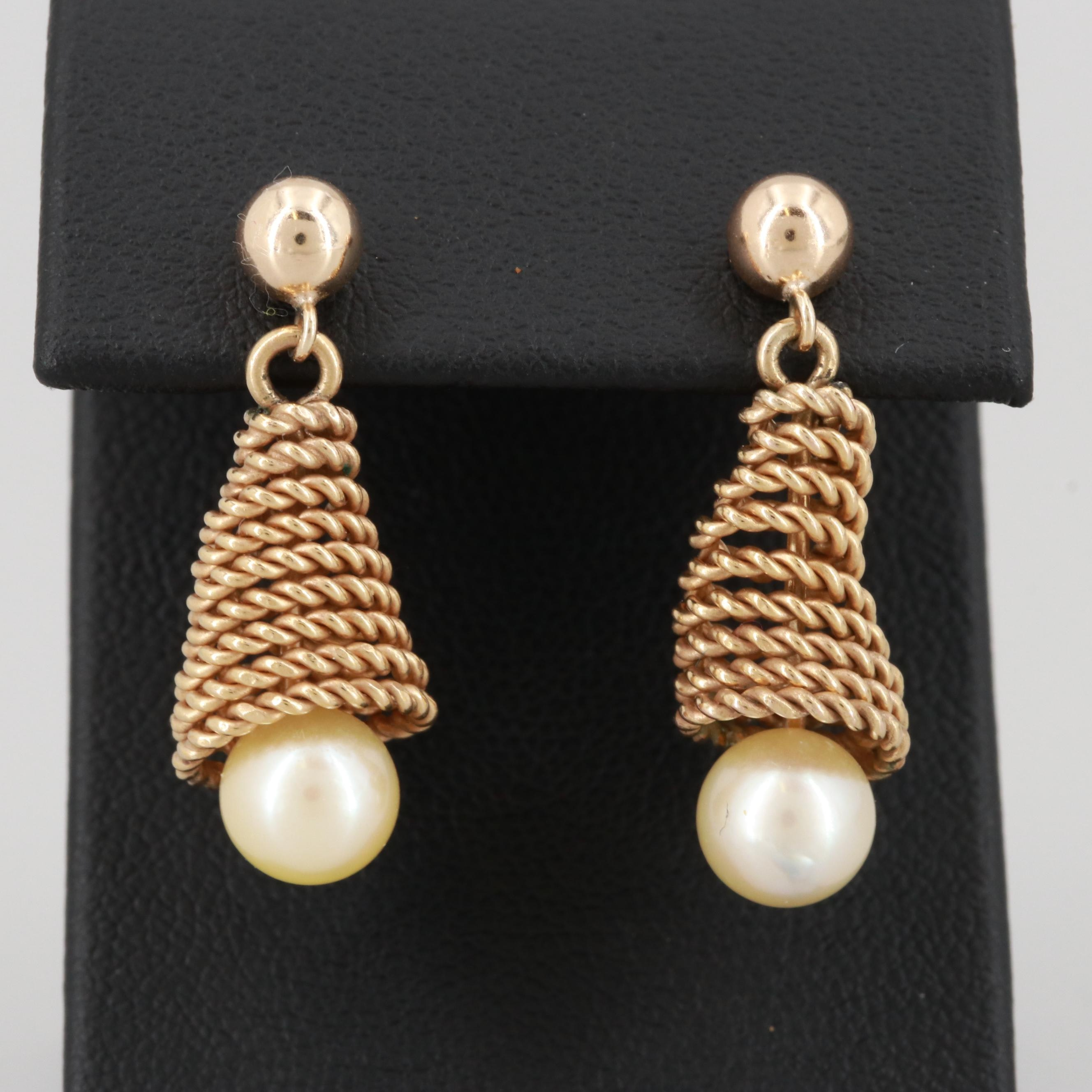 14K Yellow Gold and Gold Tone Cultured Pearl Dangle Earrings