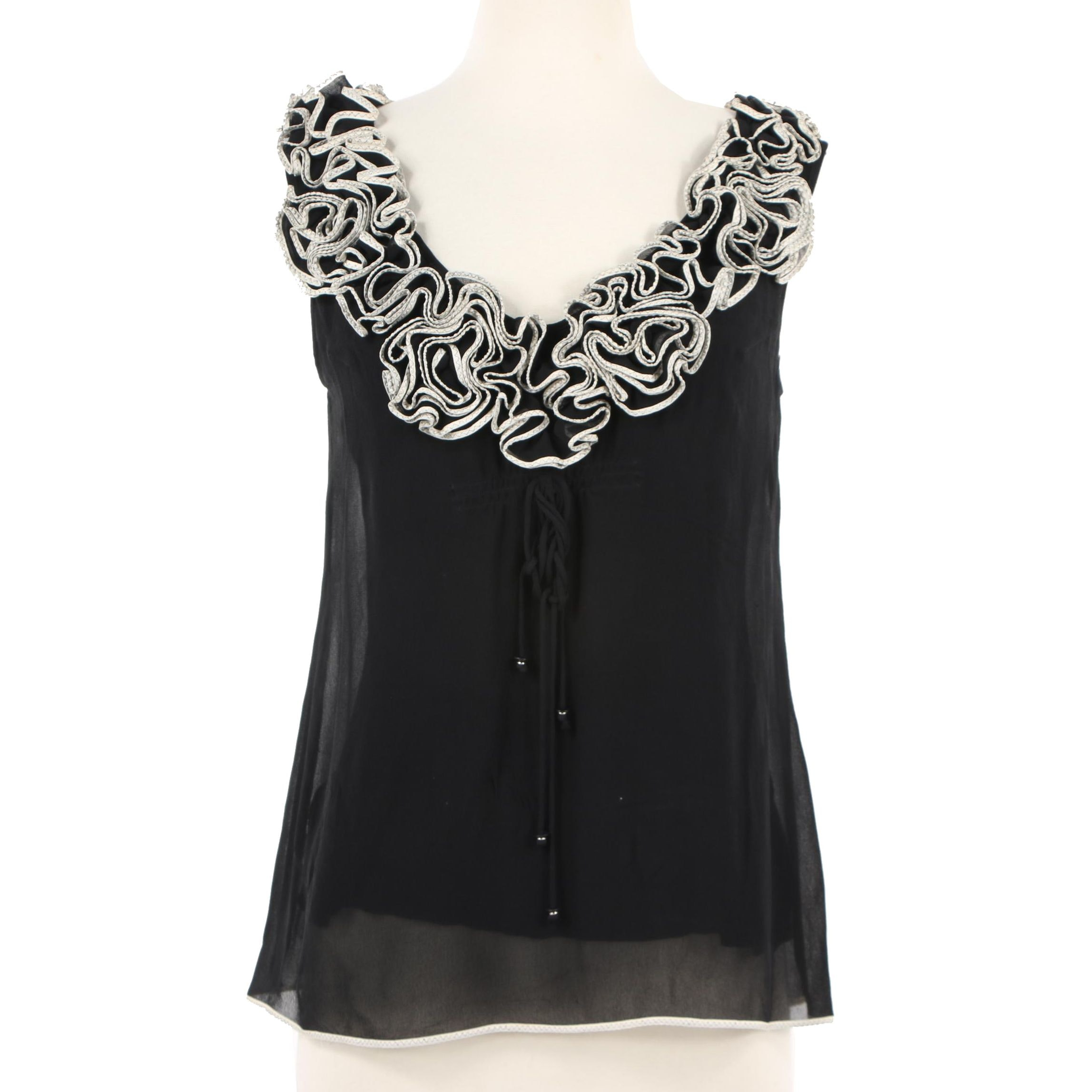 Yoana Baraschi Black Silk Sleeveless Blouse with Ruffled Neckline