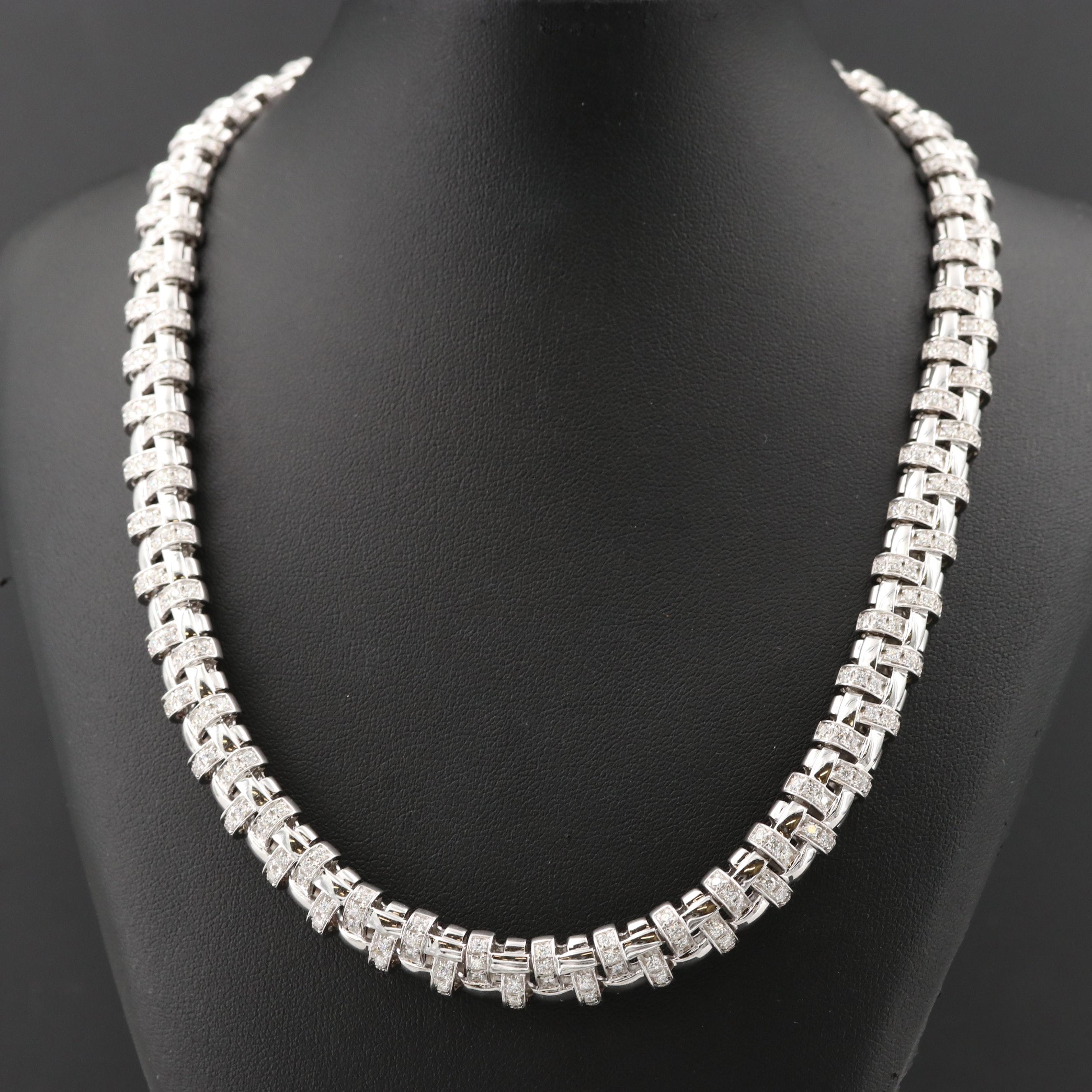 Tiffany & Co. 18K White Gold 6.24 CTW Diamond Basket Weave Necklace