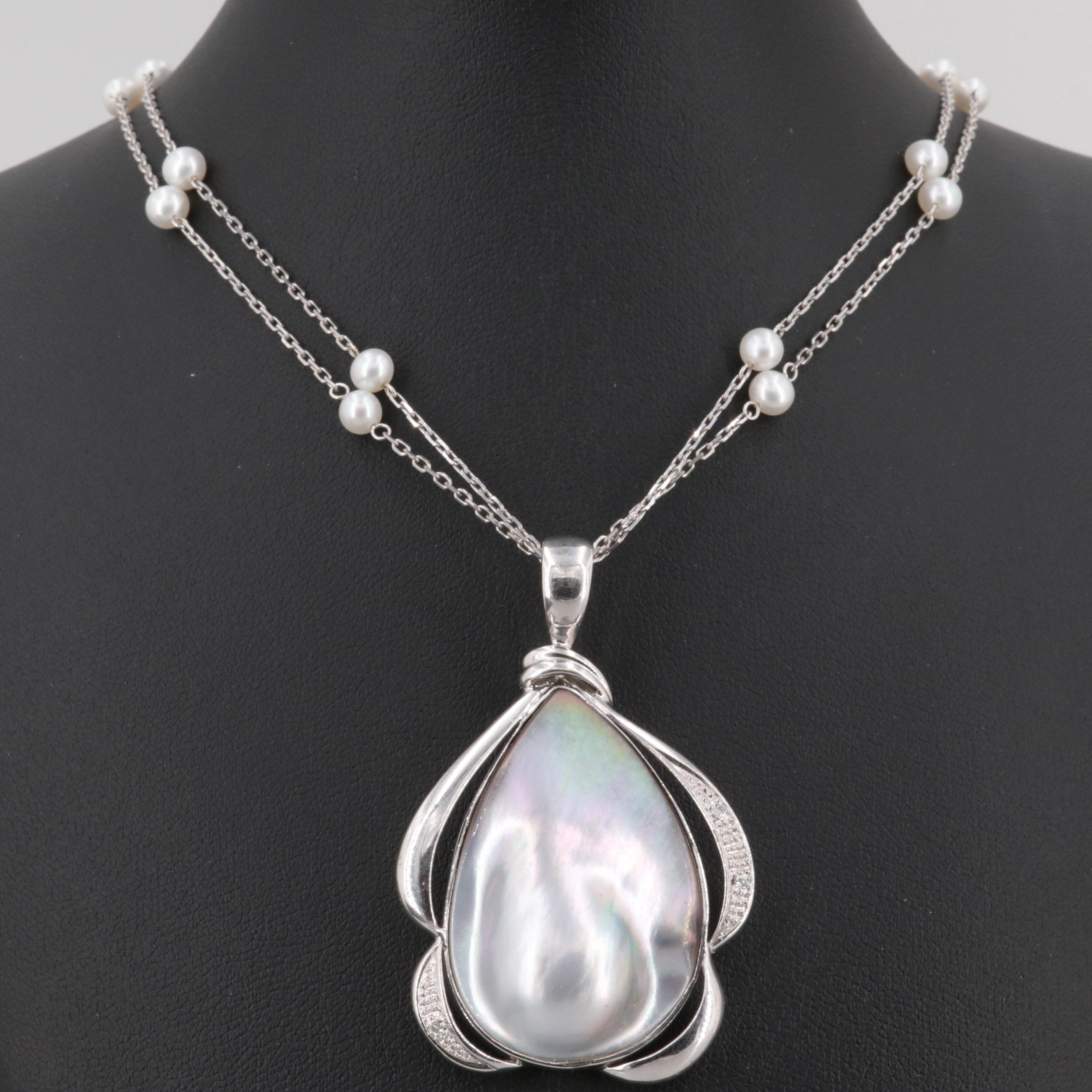 14K White Gold Cultured Pearl and Diamond Enhancer Pendant Necklace
