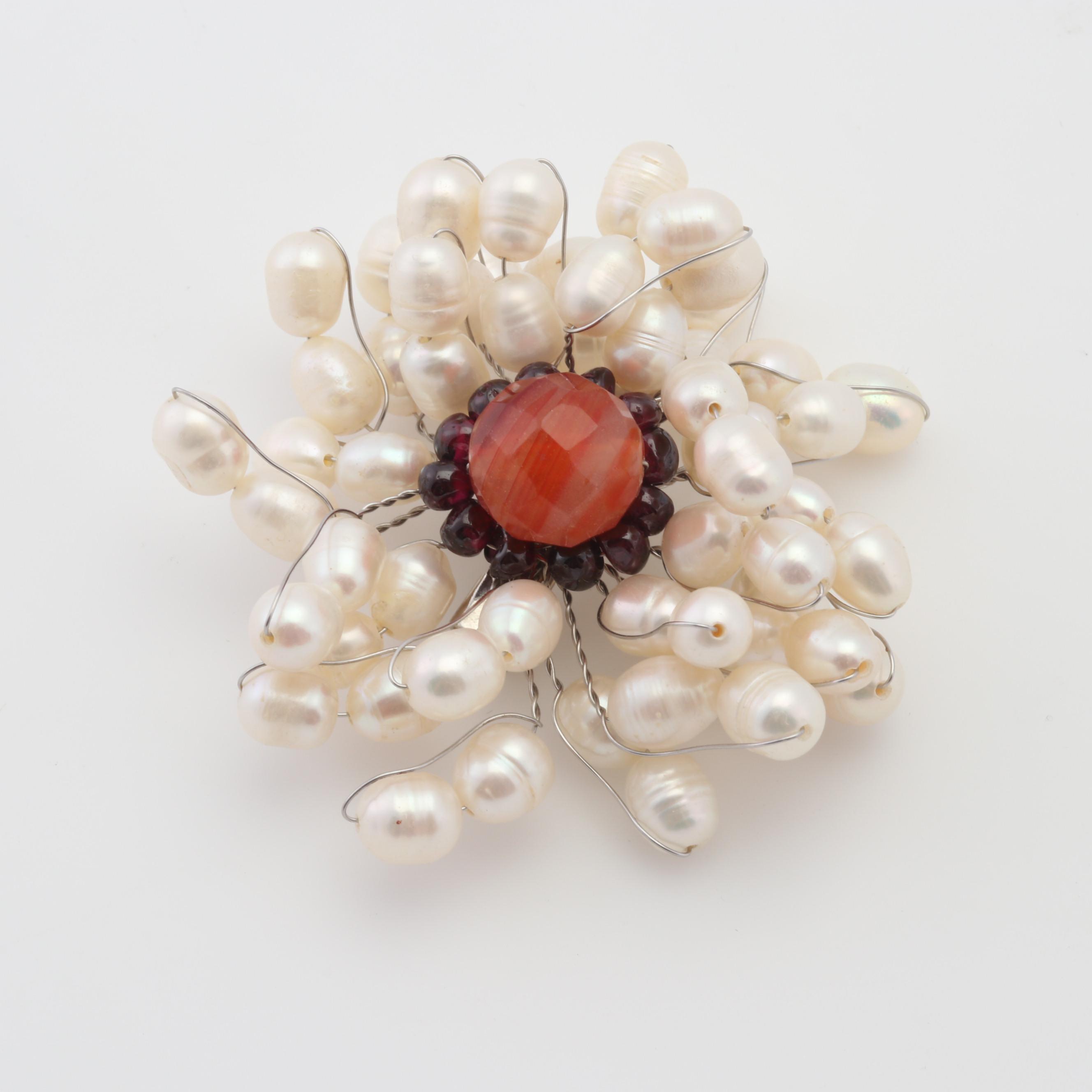 Fresh Water Cultured Baroque Pearl Brooch with Rhodolite Garnet and Orange Bead