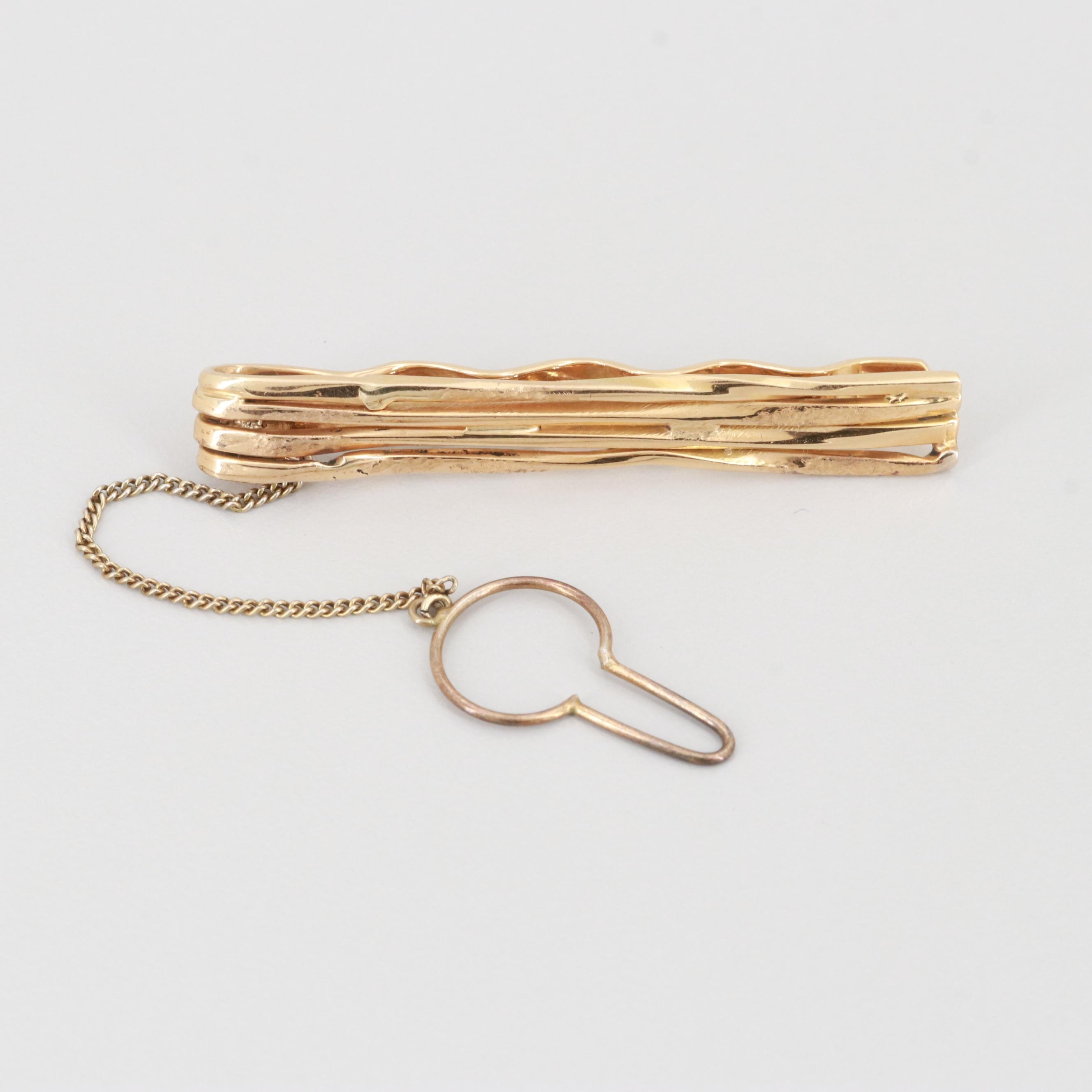 18K Yellow Gold and Sterling Silver Tie Bar