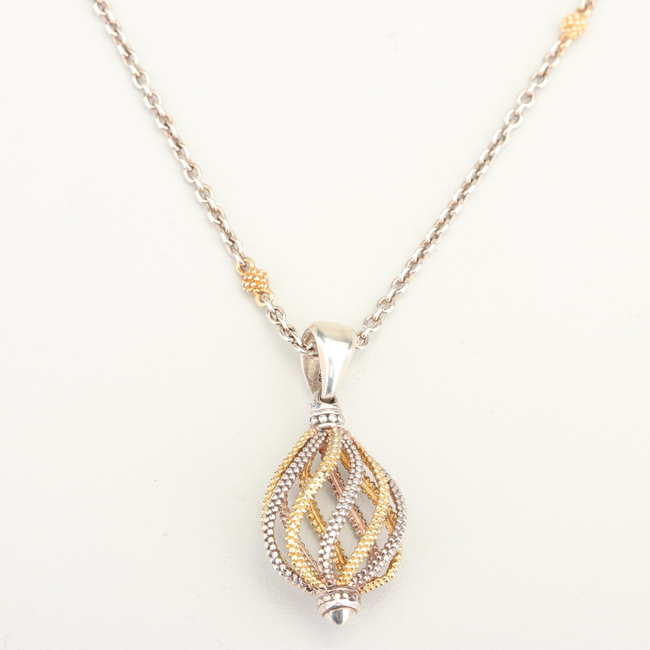 Lagos 18K Yellow Gold Accented Sterling Silver Pendant Necklace