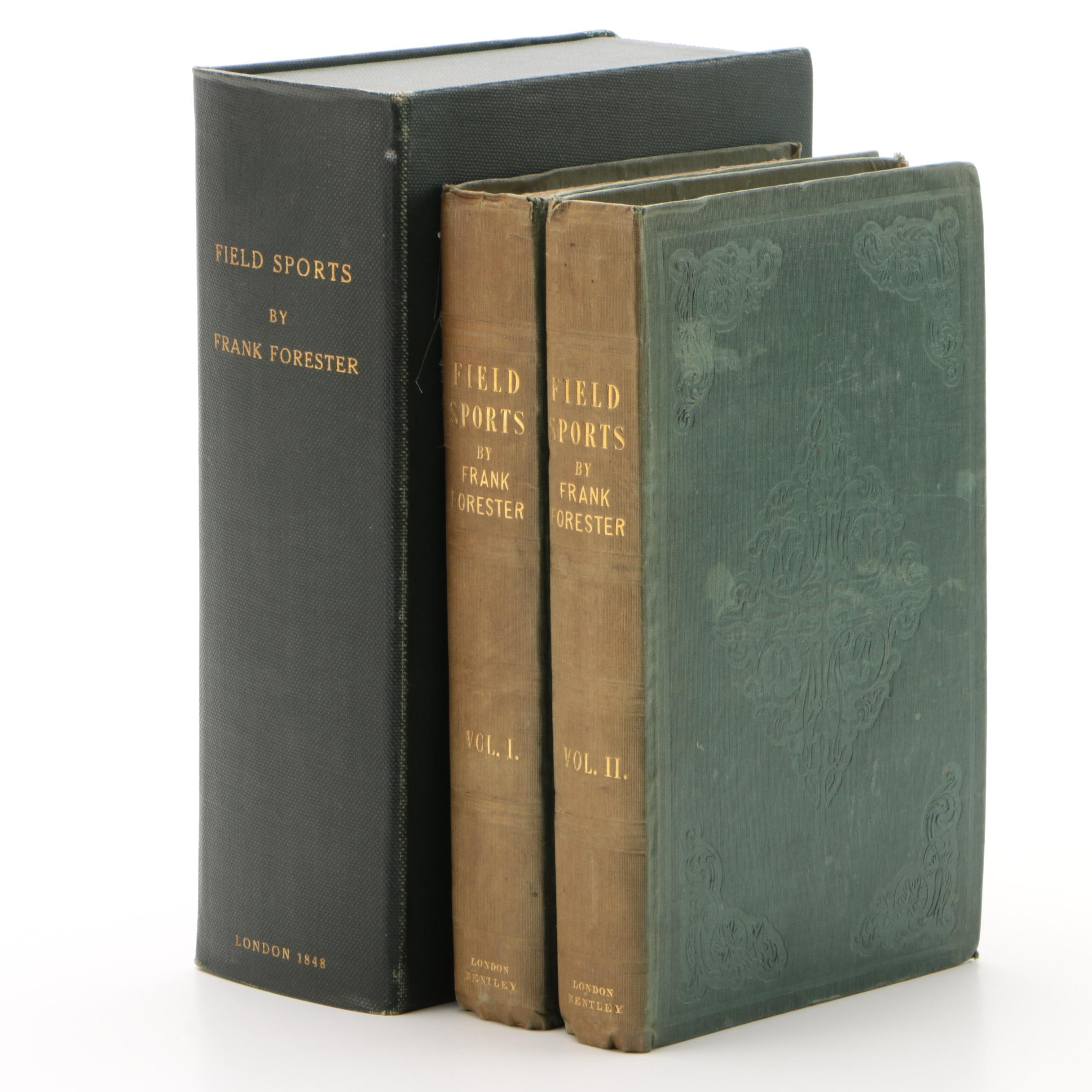 "1848 Two-Volume ""Field Sports"" by Frank Forester with Clamshell Case"