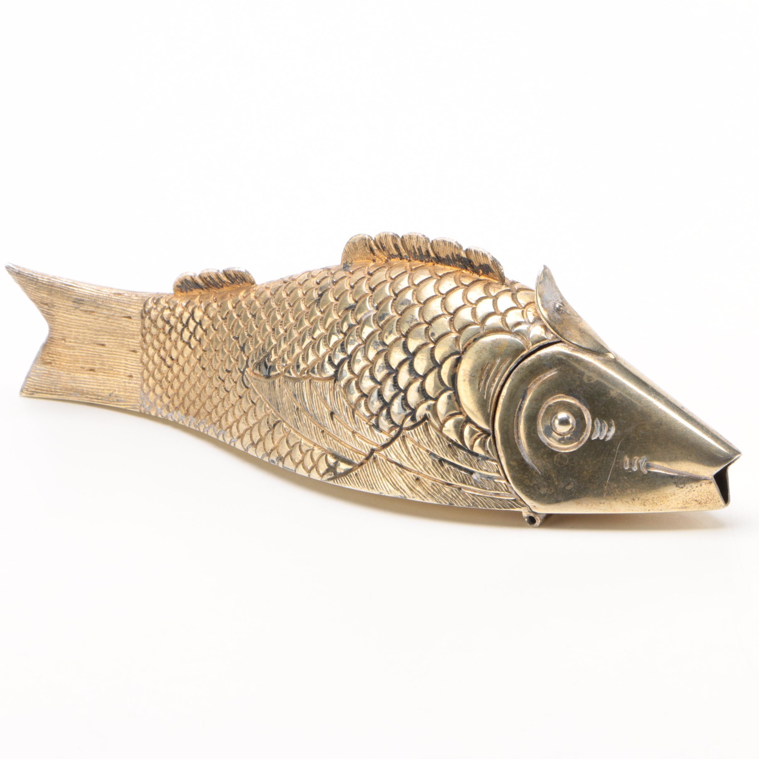 Henri Bendel Gold Wash Sterling Fish Box