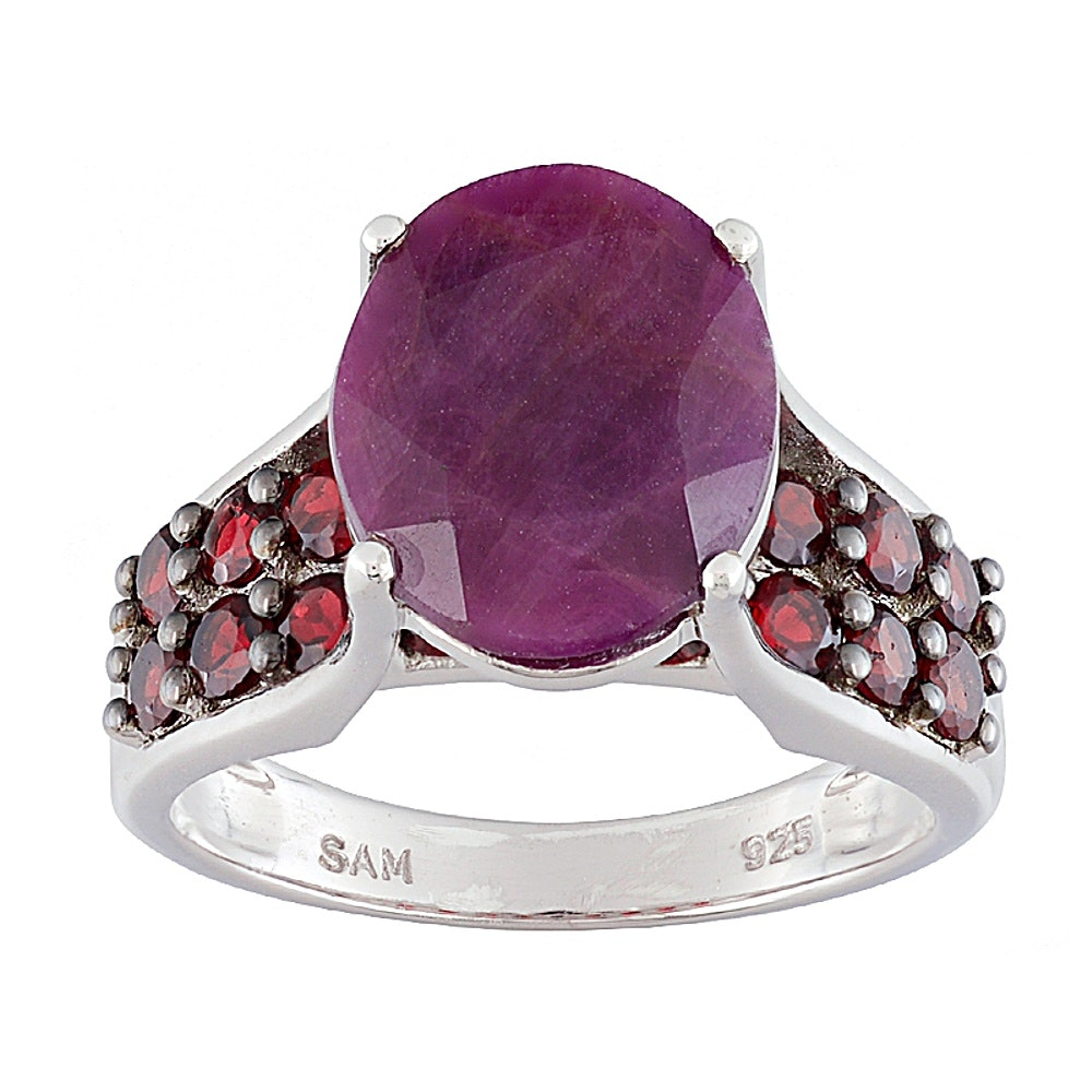 Sterling Silver Ruby and Garnet Ring