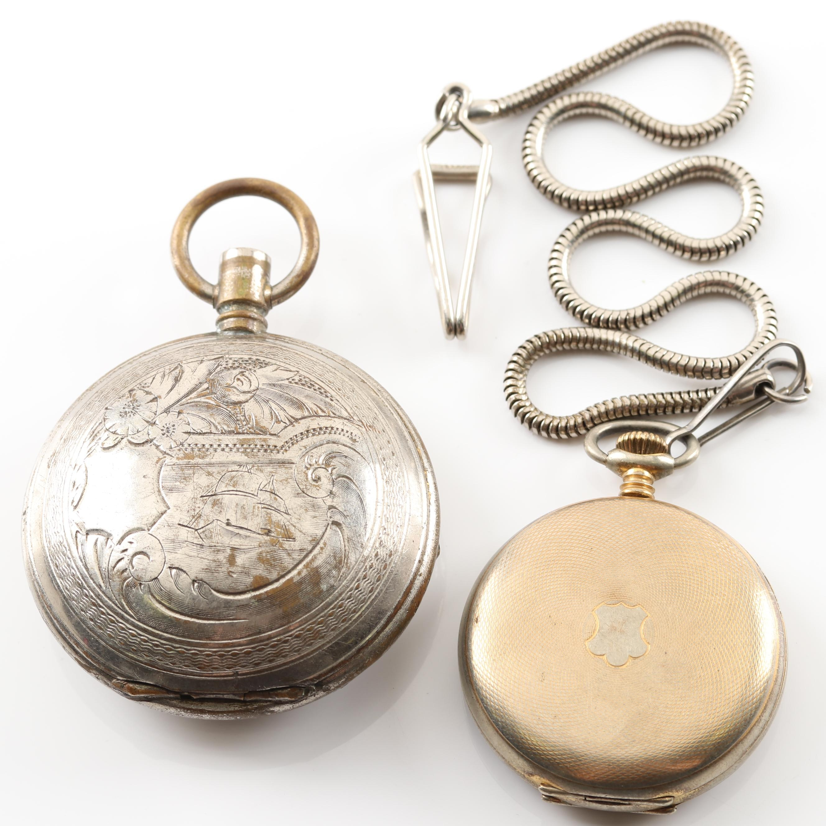 Elgin Gold Tone Pocket Watch and Pocket Watch Case