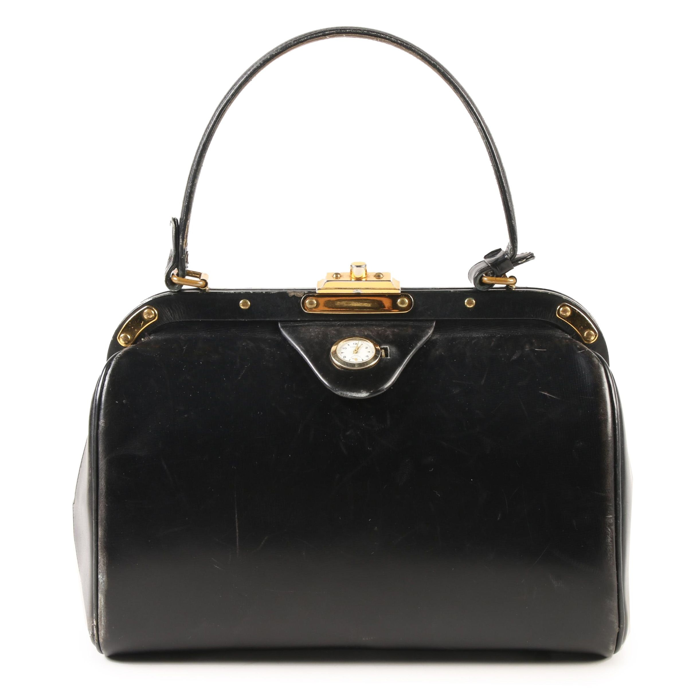 Dorian Mini Doctor Bag Satchel in Black Leather with Sheffield Watch, circa 1960