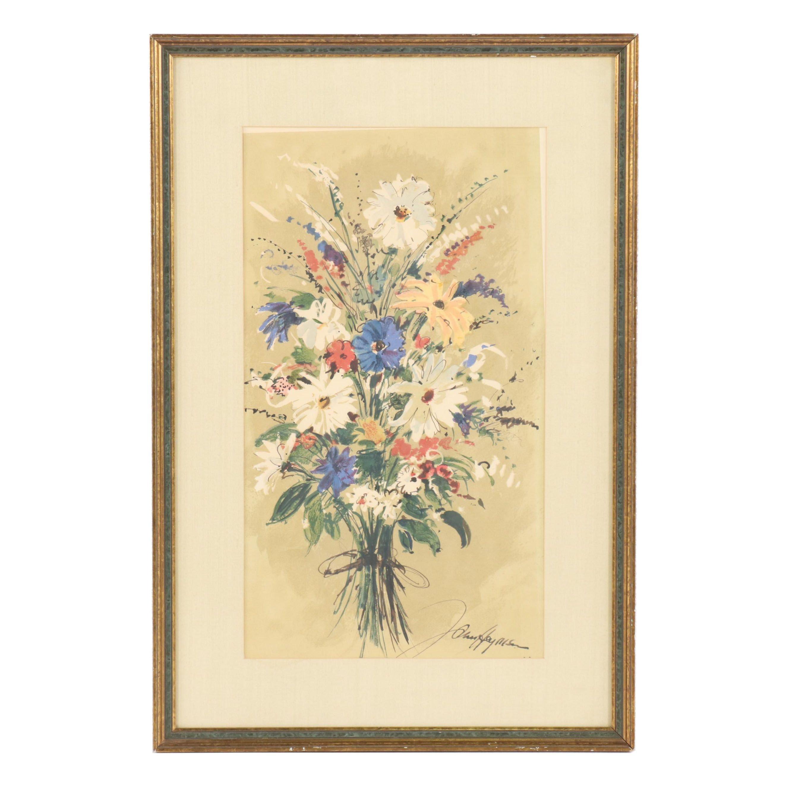 Floral Still Life Color Lithograph
