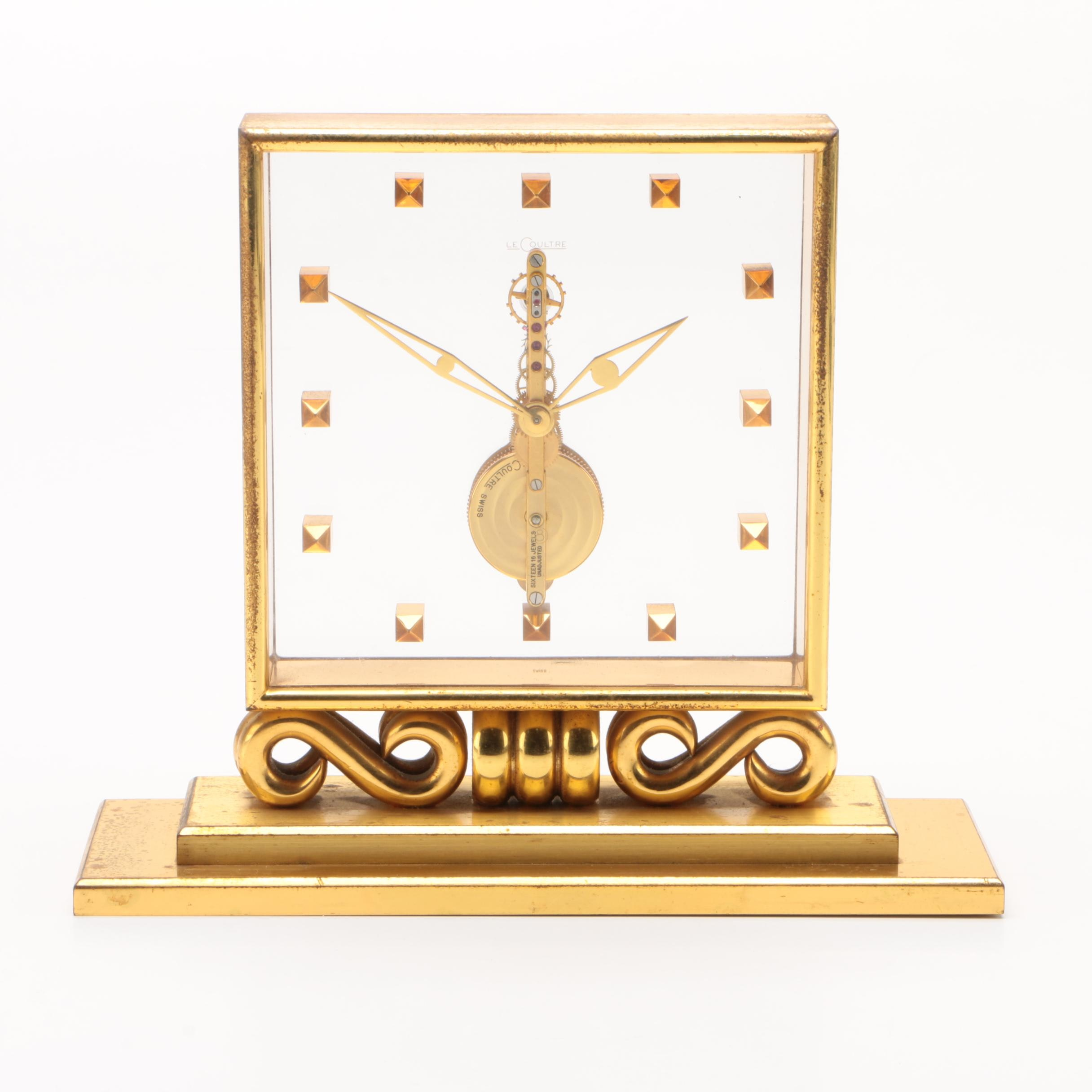 LeCloultre Gold Tone Metal and Lucite Inline Desk Clock, Early 20th Century