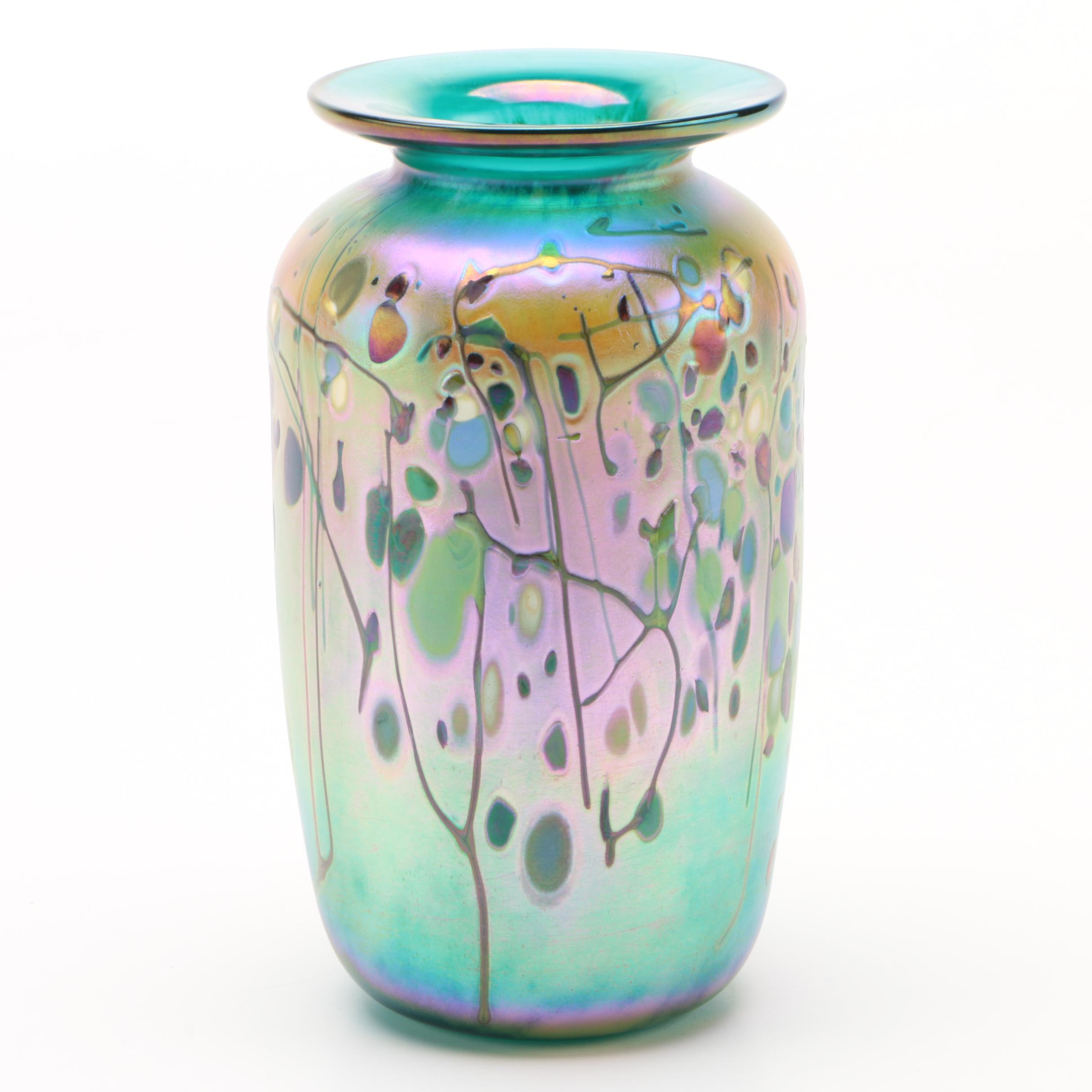 Iridescent Art Glass Vase, Signed and Dated 1999