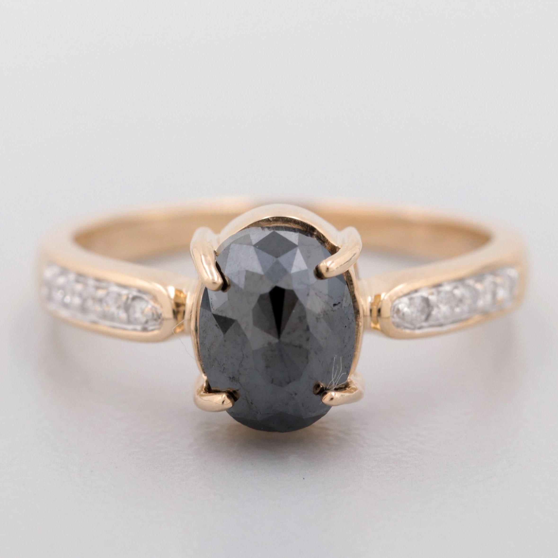 14K Yellow Gold 0.92 CTW Diamond and Black Diamond Ring