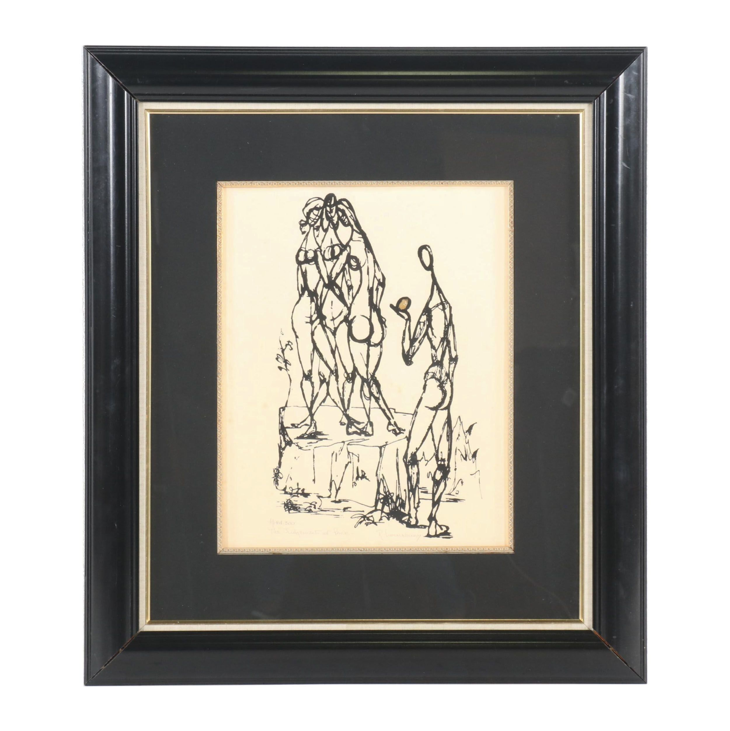"""Late 20th Century Embellished Lithograph """"The Judgement of Paris"""""""