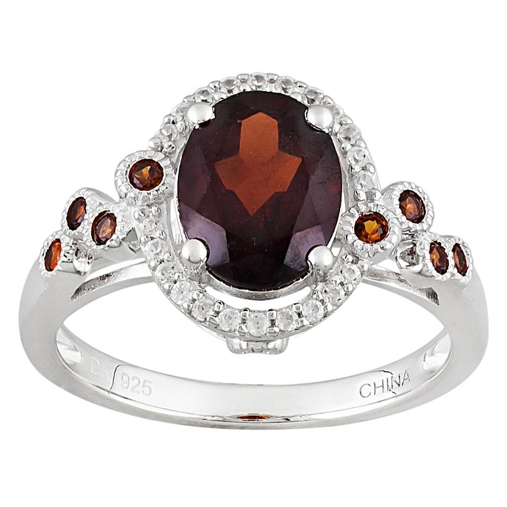 Sterling Silver Garnet and Zircon Ring