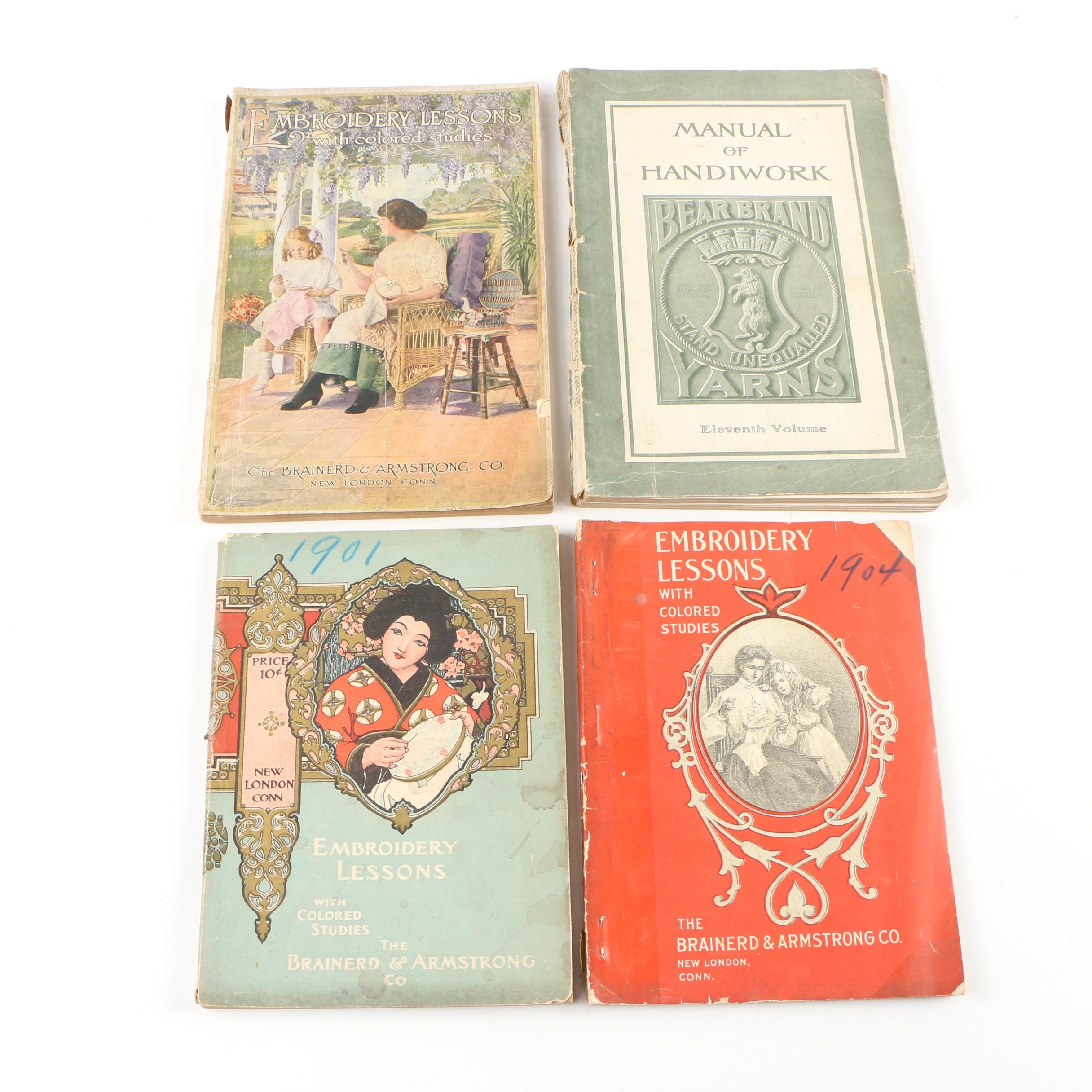 """Antiquarian Embroidery Books featuring """"Embroidery Lessons with Colored Studies"""""""