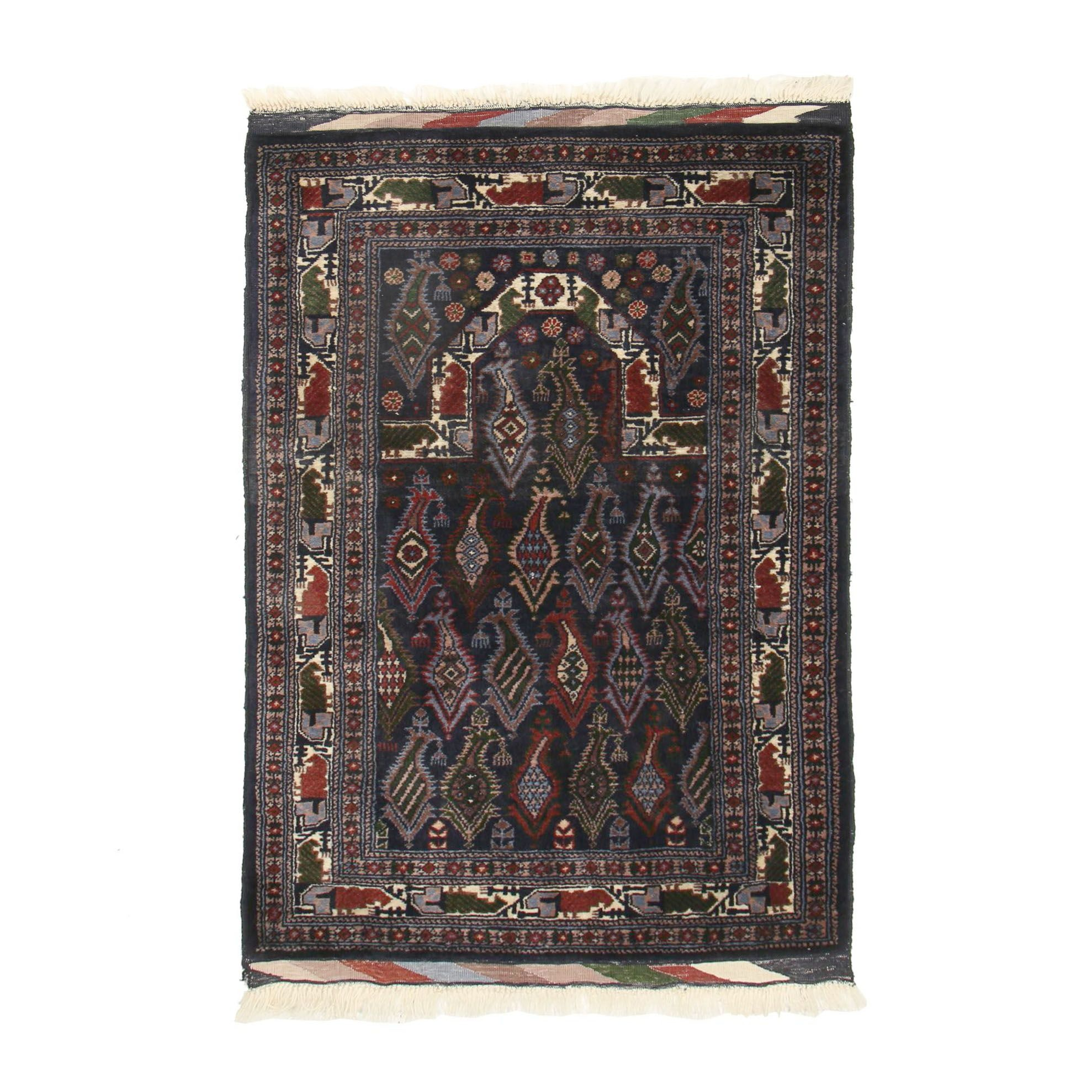 Hand-Knotted Persian Boteh Wool Prayer Rug