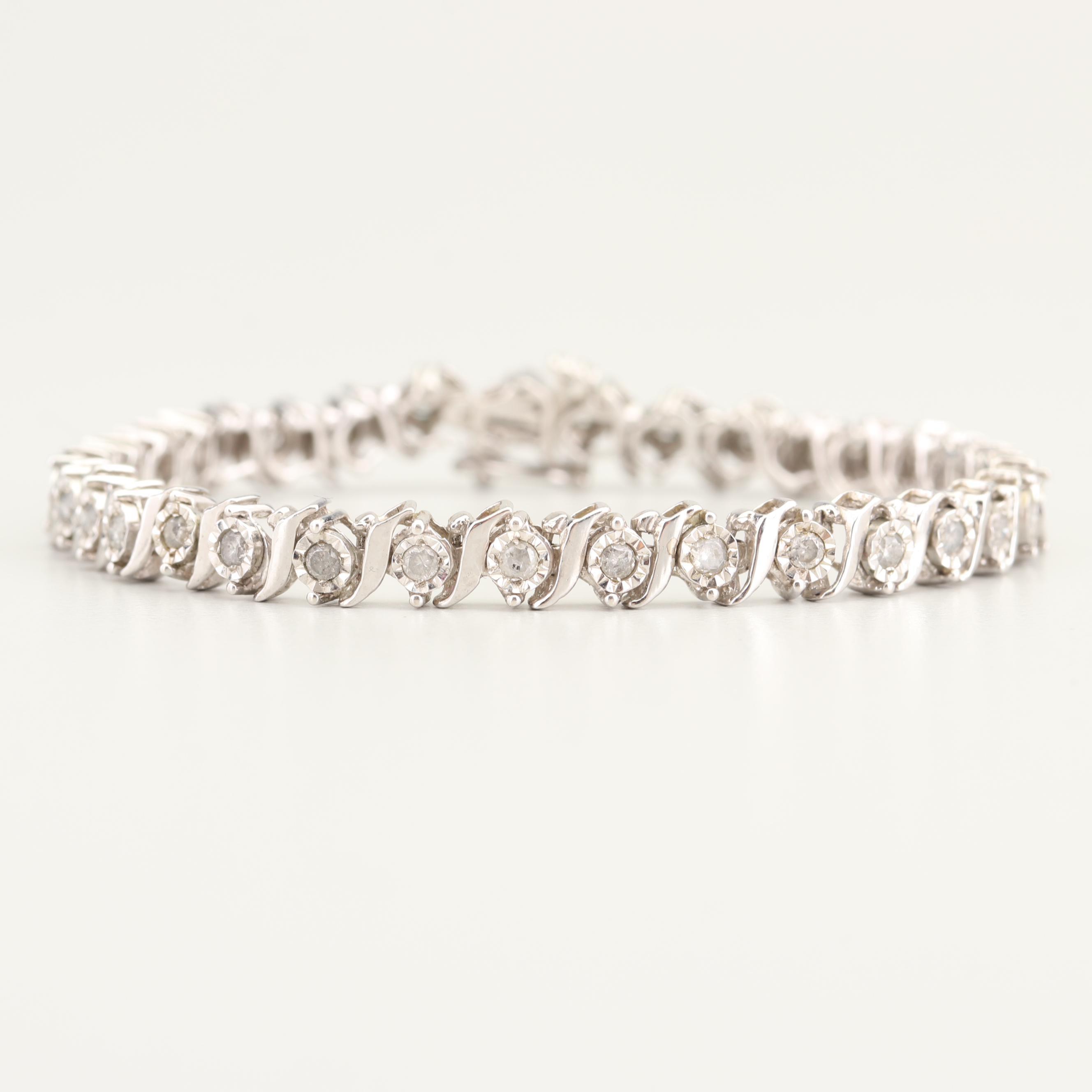 Sterling Silver 1.00 CTW Diamond Bracelet