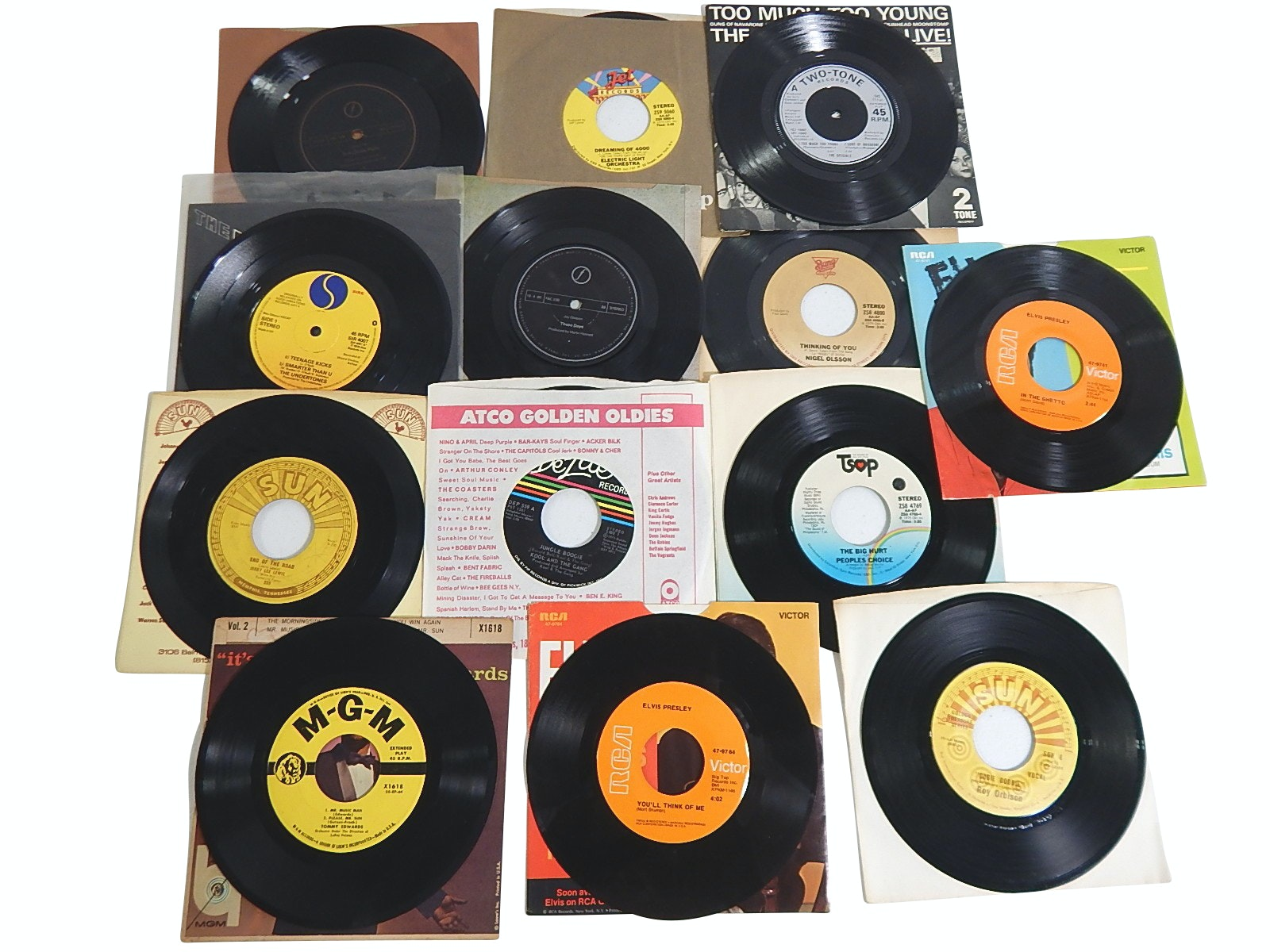 45 RPM Records with Jerry Lee Lewis on Sun Records, Elvis Presley, Roy Orbison