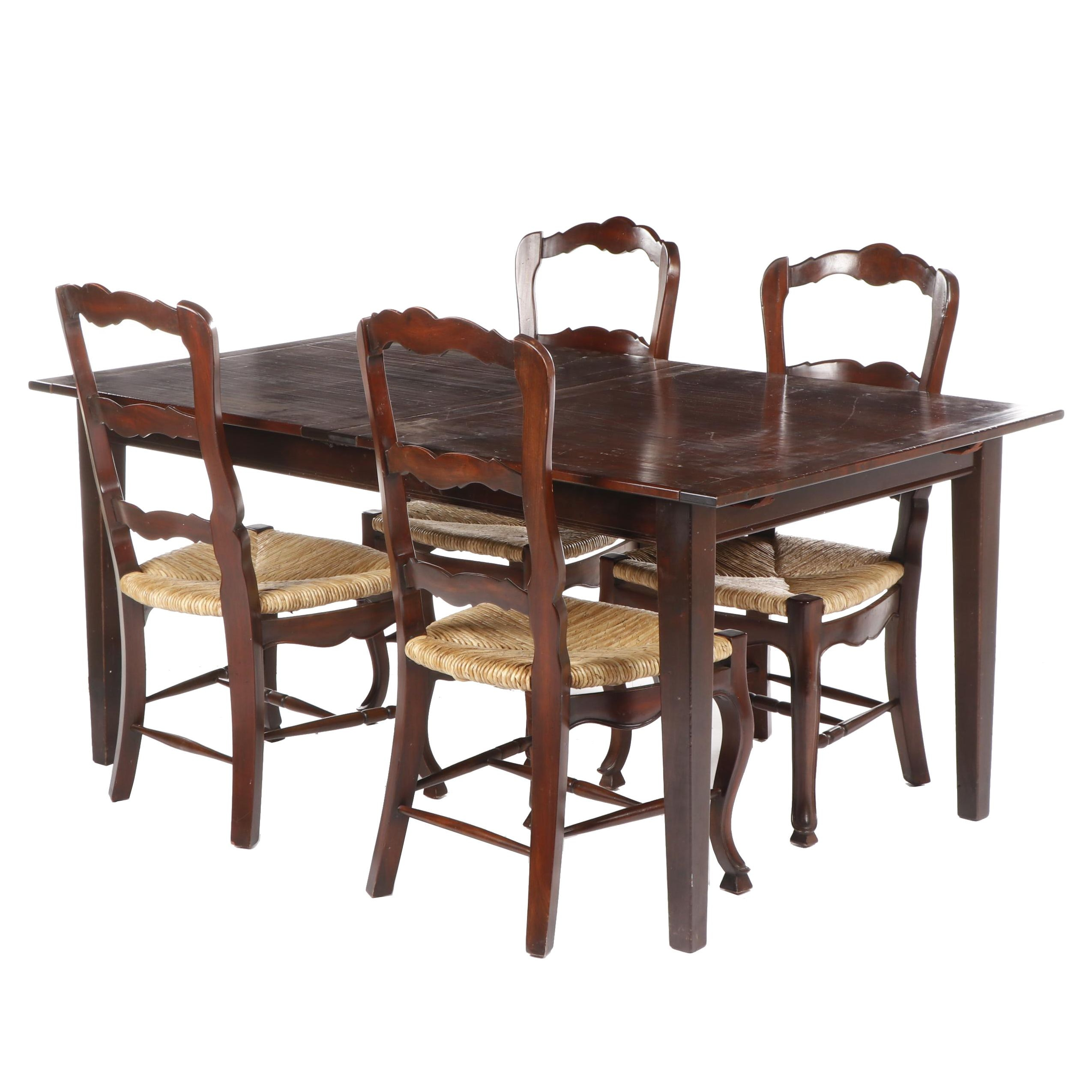 Expanding Wooden Dining Table and Four Colonial Style Side Chairs