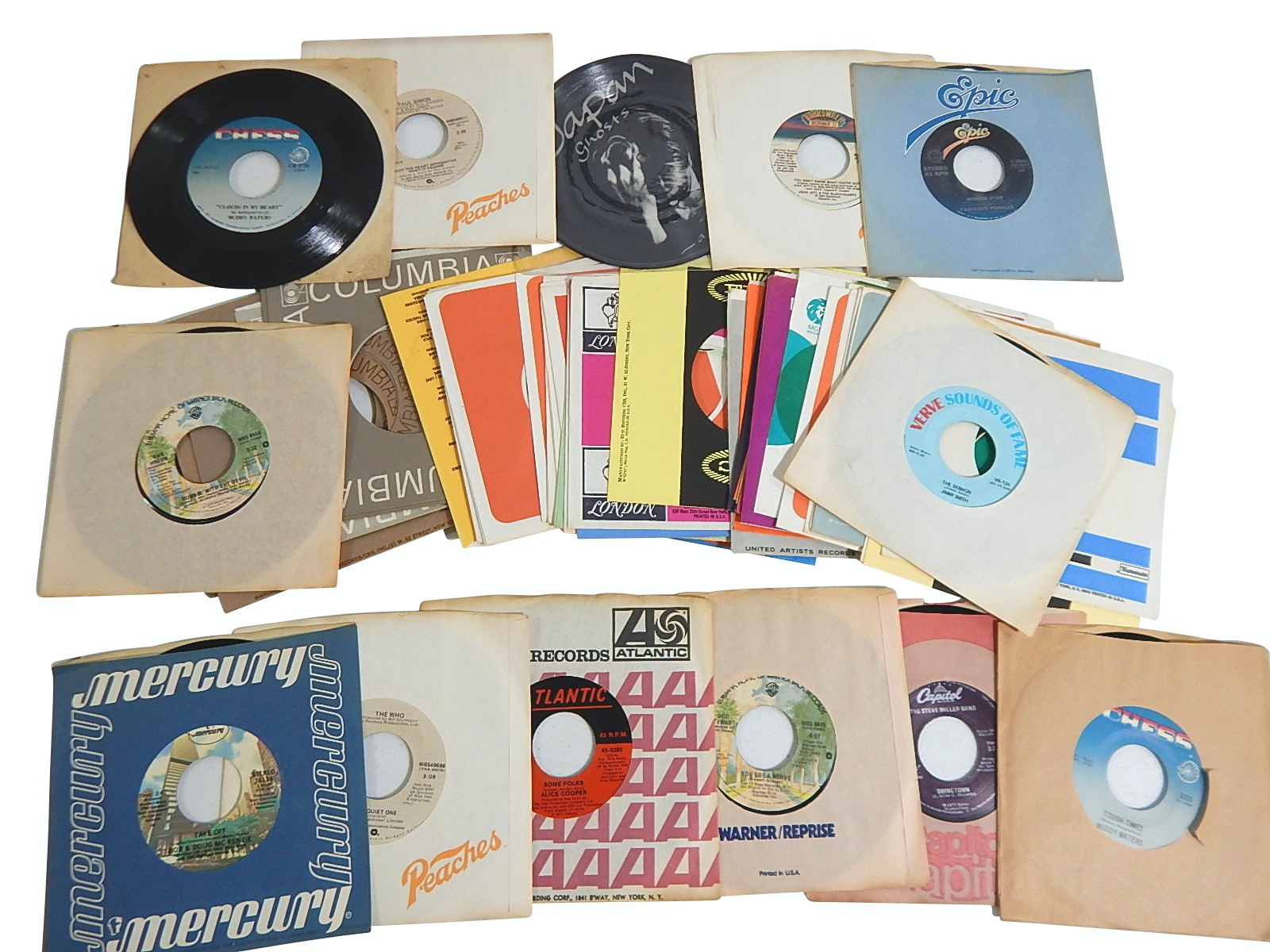 1960s/1970s 45 RPM Records and Picture Discs and Over 50 Record Label Sleeves