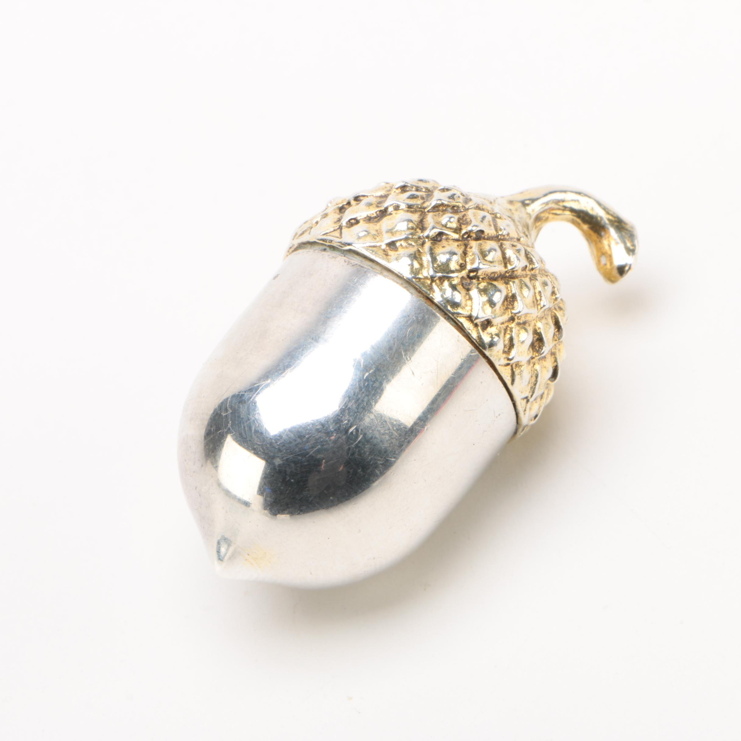 Tiffany & Co. Sterling Silver And Gilt Acorn Pill Box