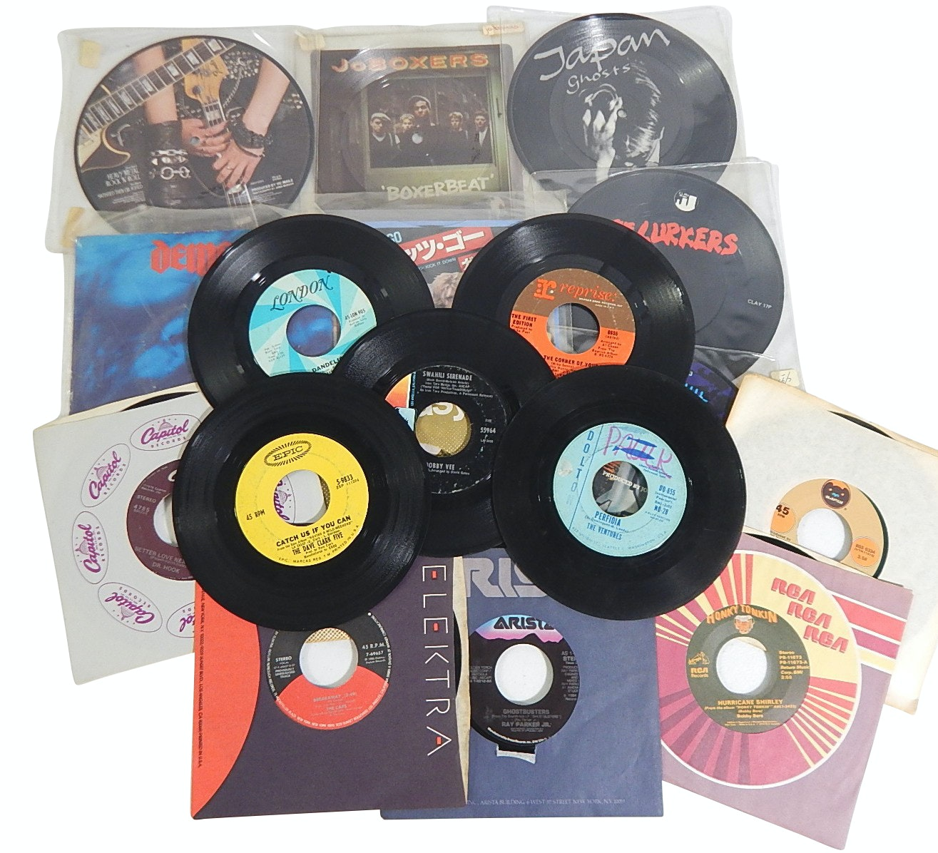 1970s Picture Discs and 45 RPM Records with The Rolling Stones,Dr. Hook,The Cars