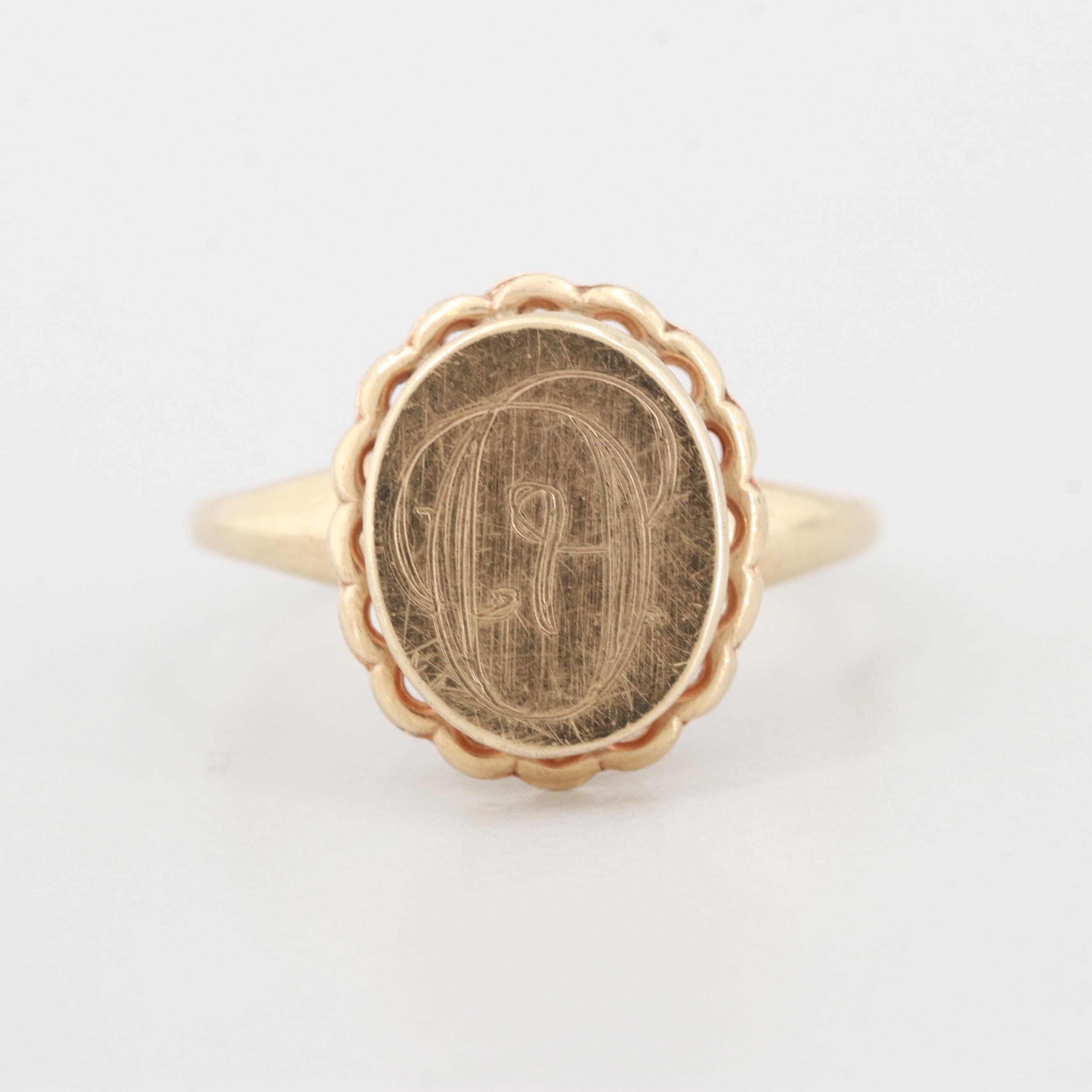 10K Yellow Gold Oval Monogrammed Signet Ring
