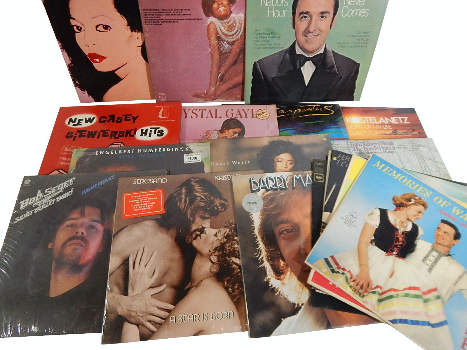 "1970s/80s 33 RPM Record Albums with ""A Star is Born"", Bob Seger, Diana Ross,More"