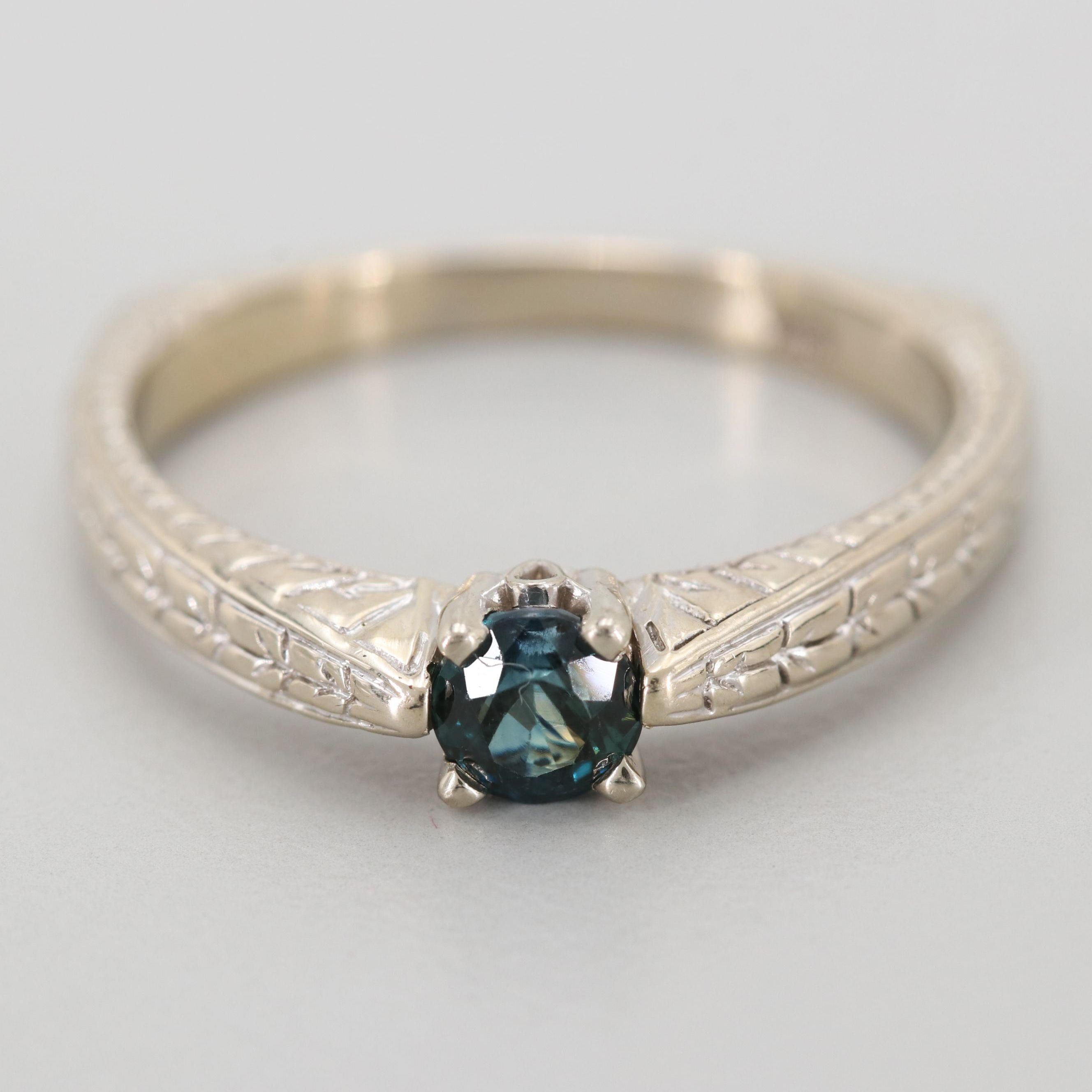 14K White Gold Blue Sapphire Solitaire Ring