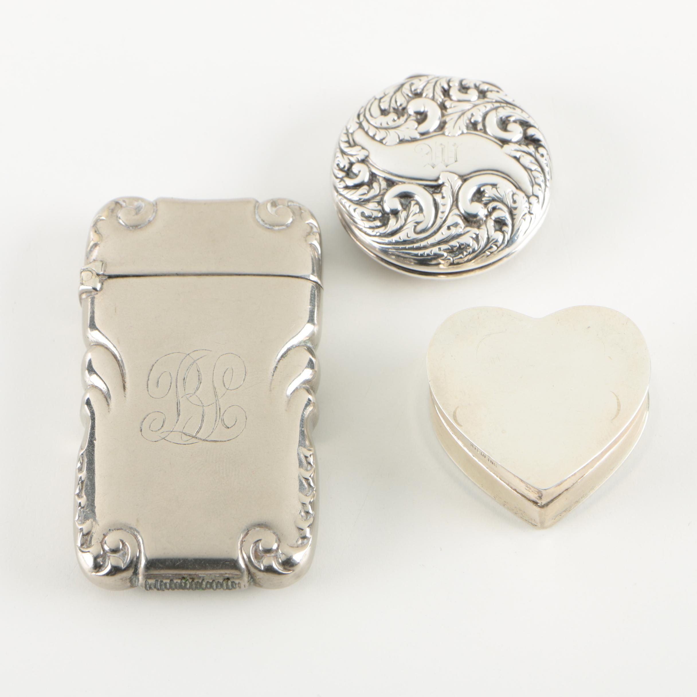 Sterling Silver Pill Box and Thread Case with German Silver Match Safe