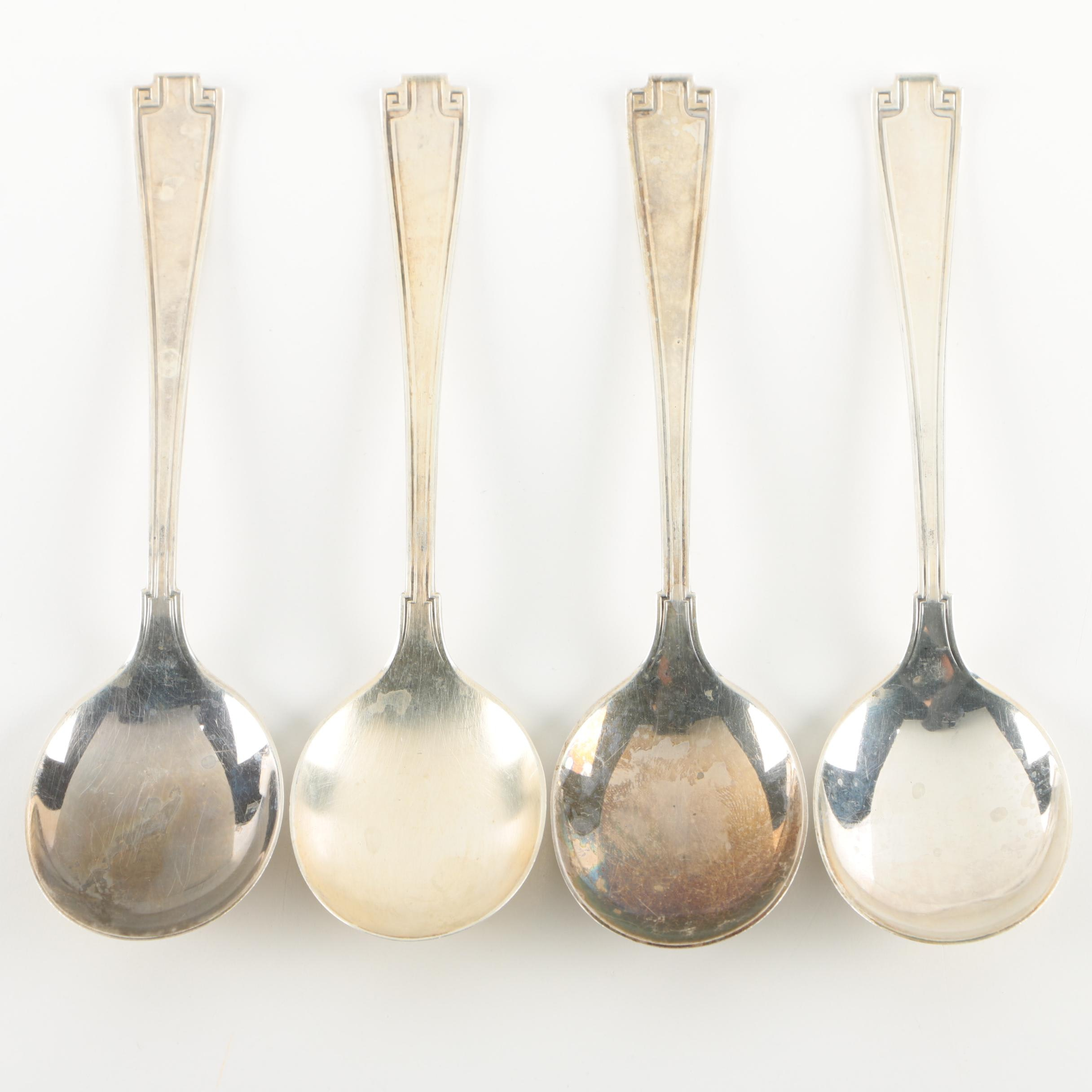 """Gorham """"Etruscan"""" Sterling Silver Cream Soup Spoons, Early 20th Century"""