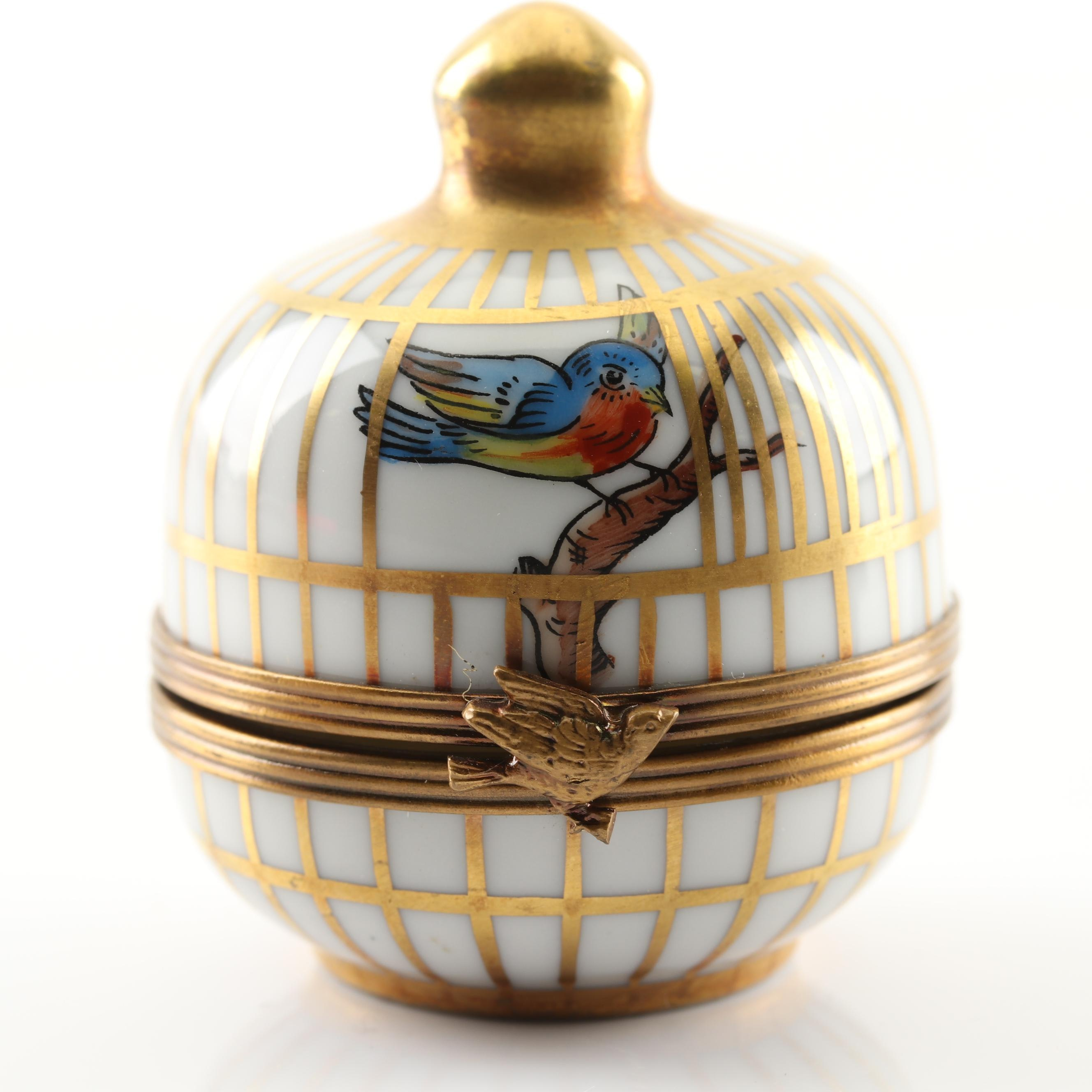 Gerard Ribierre Hand-Painted Limoges Porcelain Birdcage Trinket Box