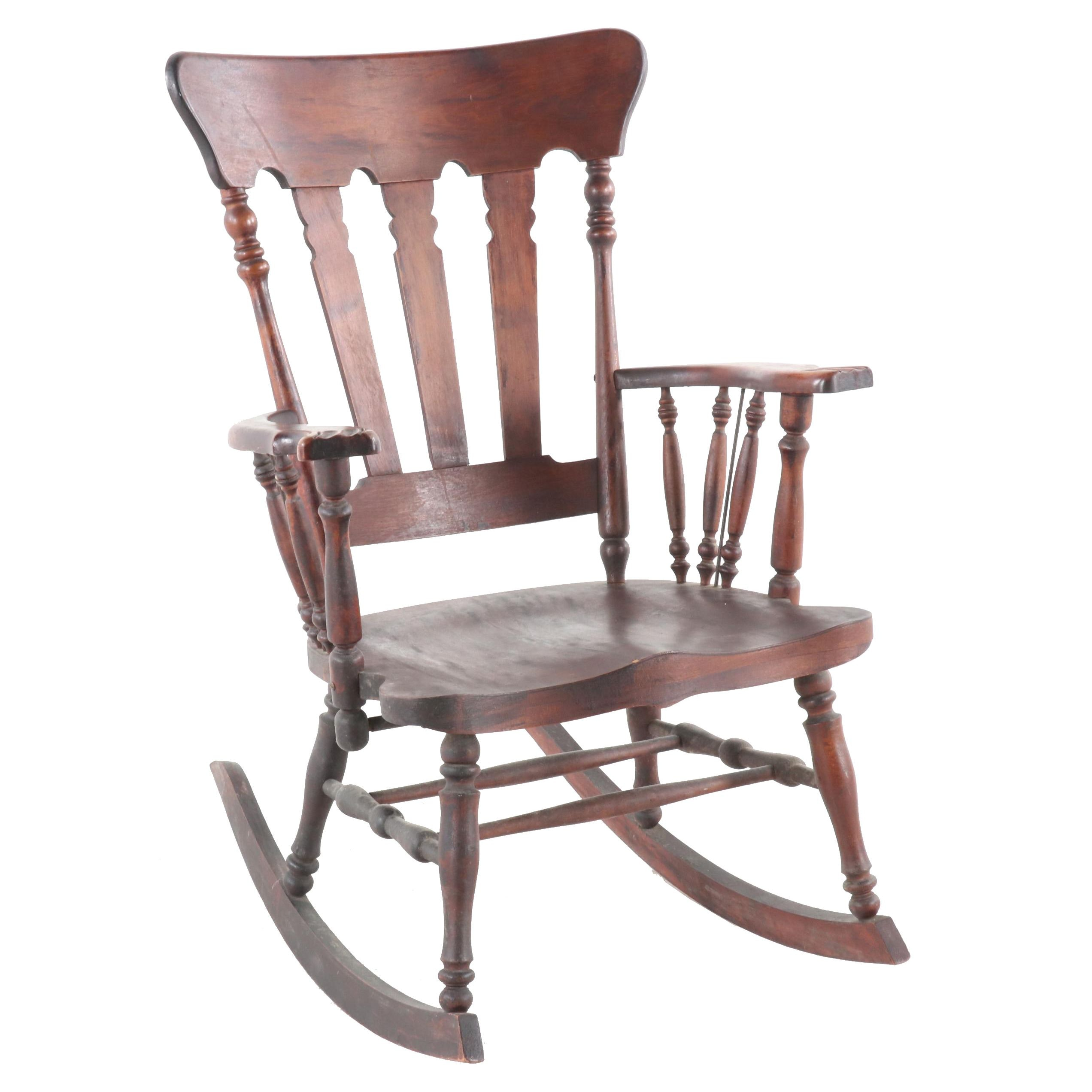 Early American Style Mahogany Rocking Chair, Early 20th Century