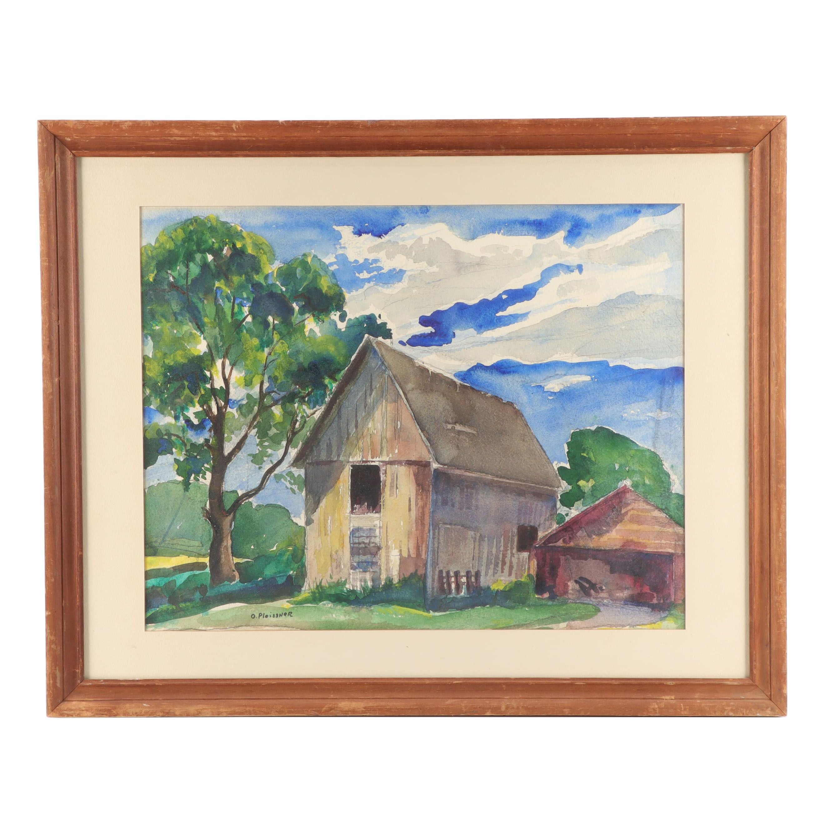 O. Pleissner Watercolor Painting of a Barn