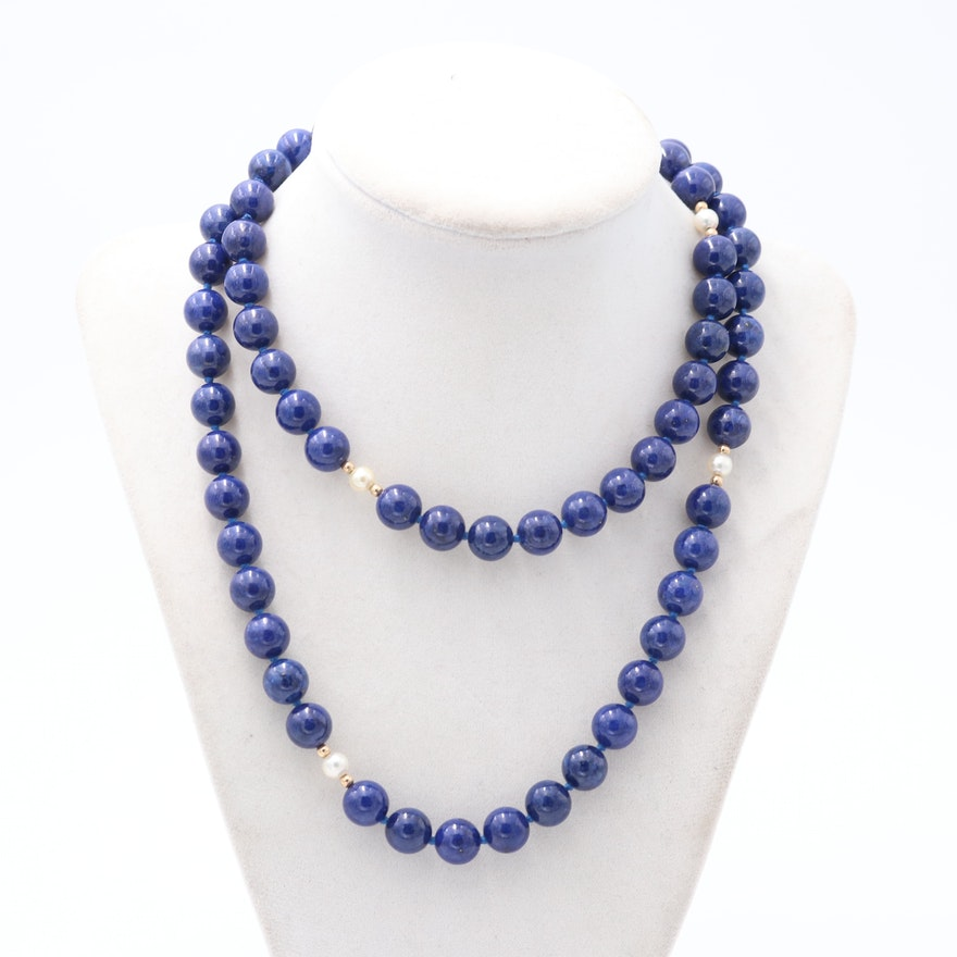 14K Yellow Gold Lapis Lazuli and Pearl Necklace
