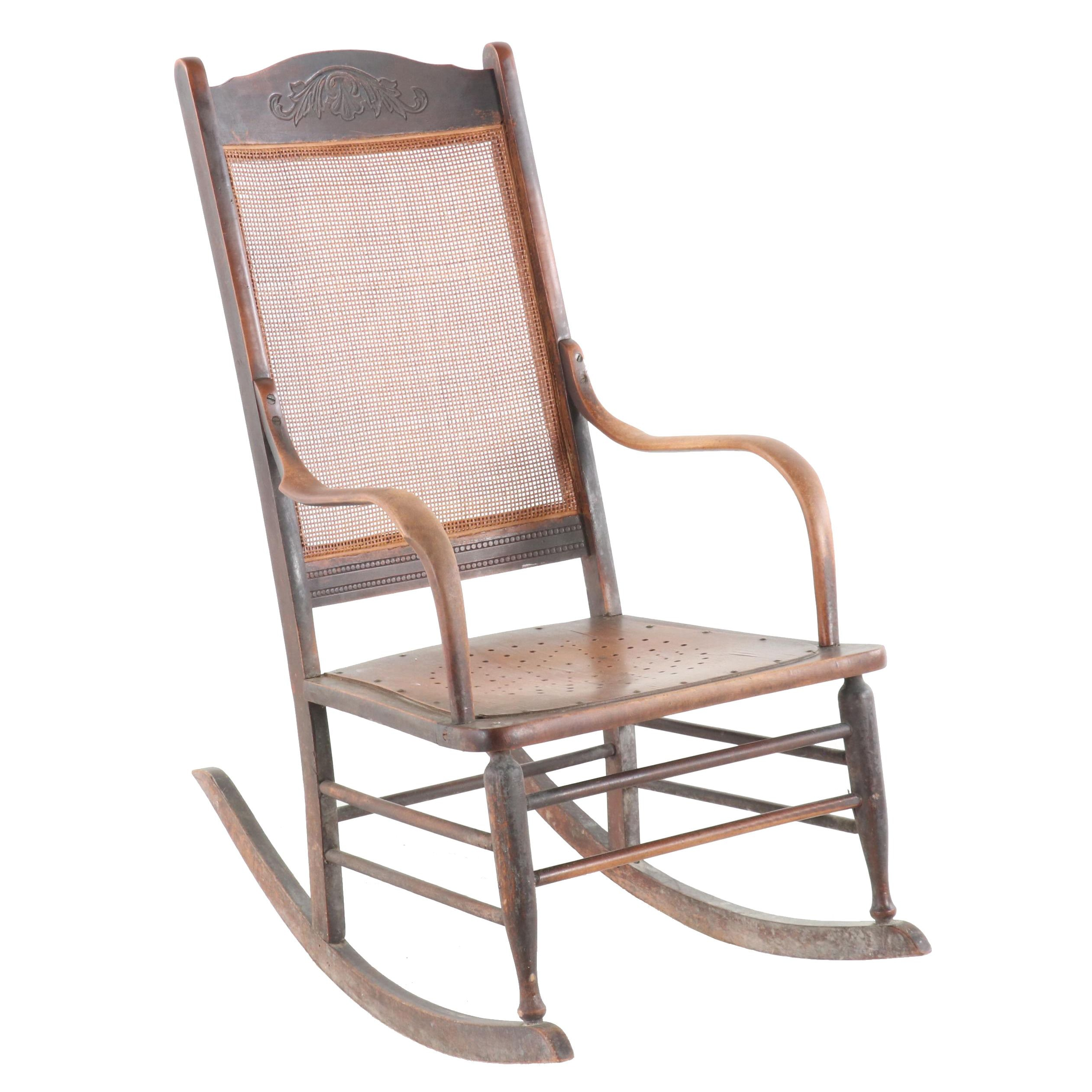 Late Victorian Wooden Cane Back Rocking Chair, Early 20th Century