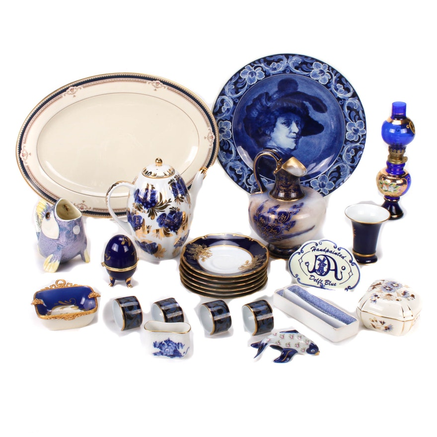 Gilt and Cobalt Collection Featuring Delft, Doulton Burslem, Royal Copenhagen