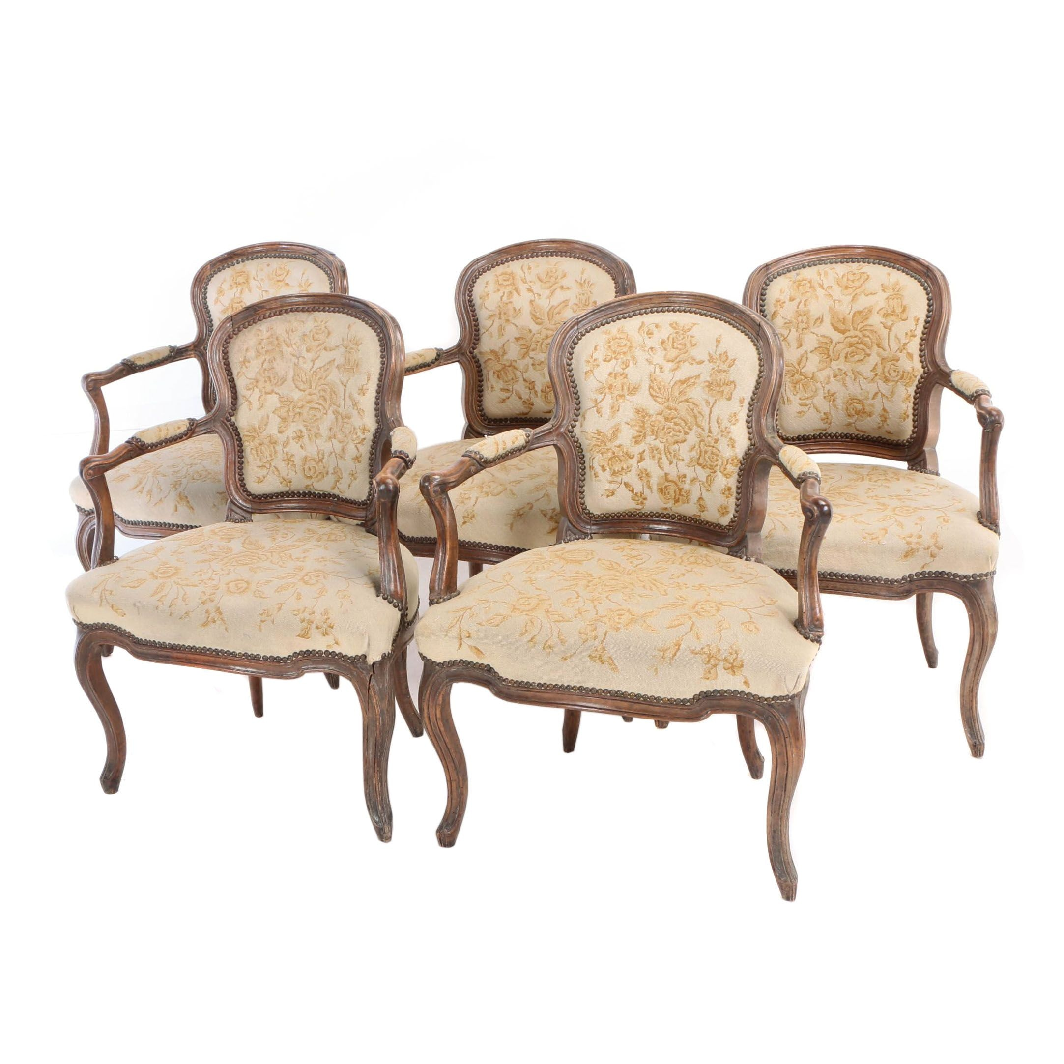 Five Louis XV Style Carved Walnut Fauteuils, 19th Century