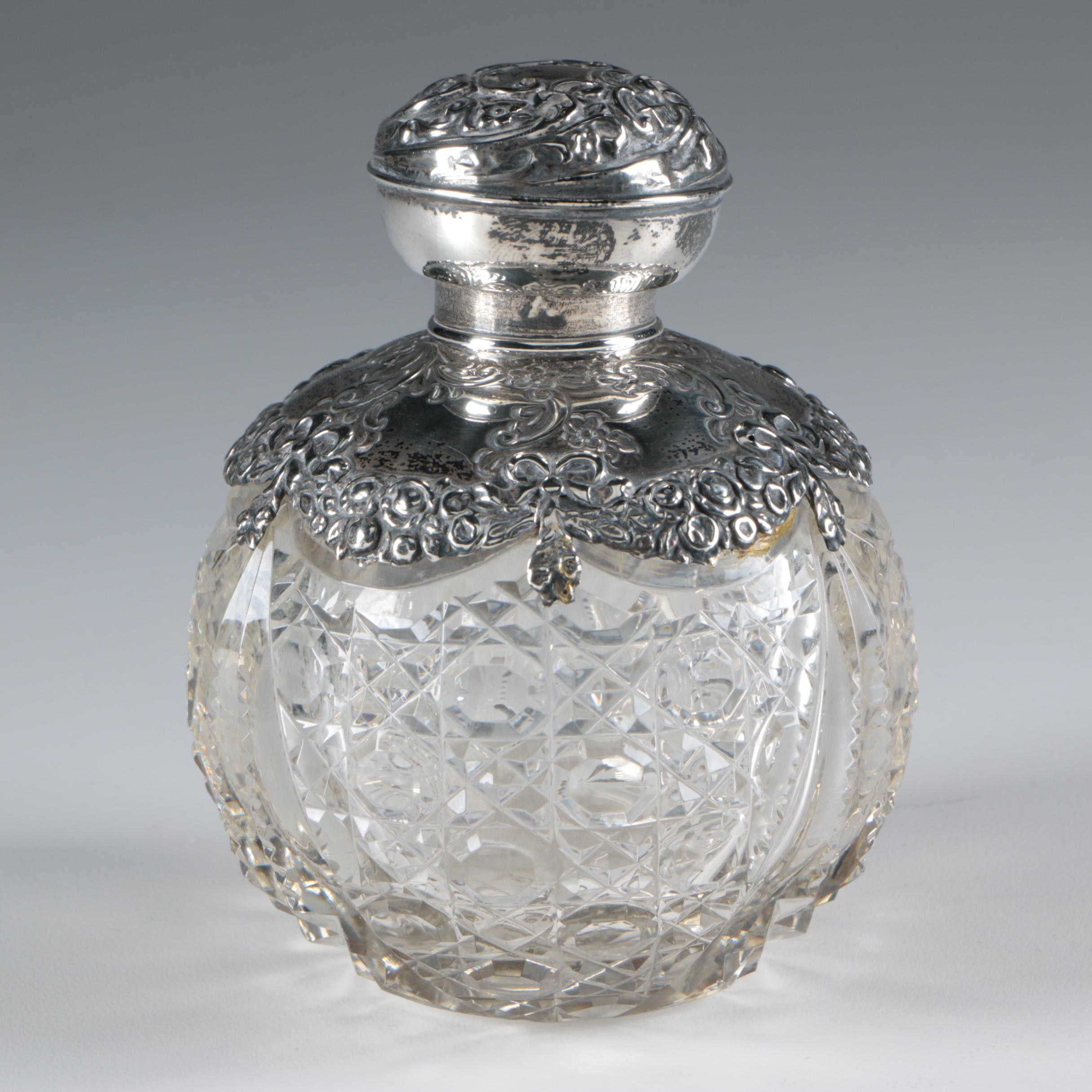 Birmingham Sterling Silver and Cut Glass Perfume Bottle, 1906