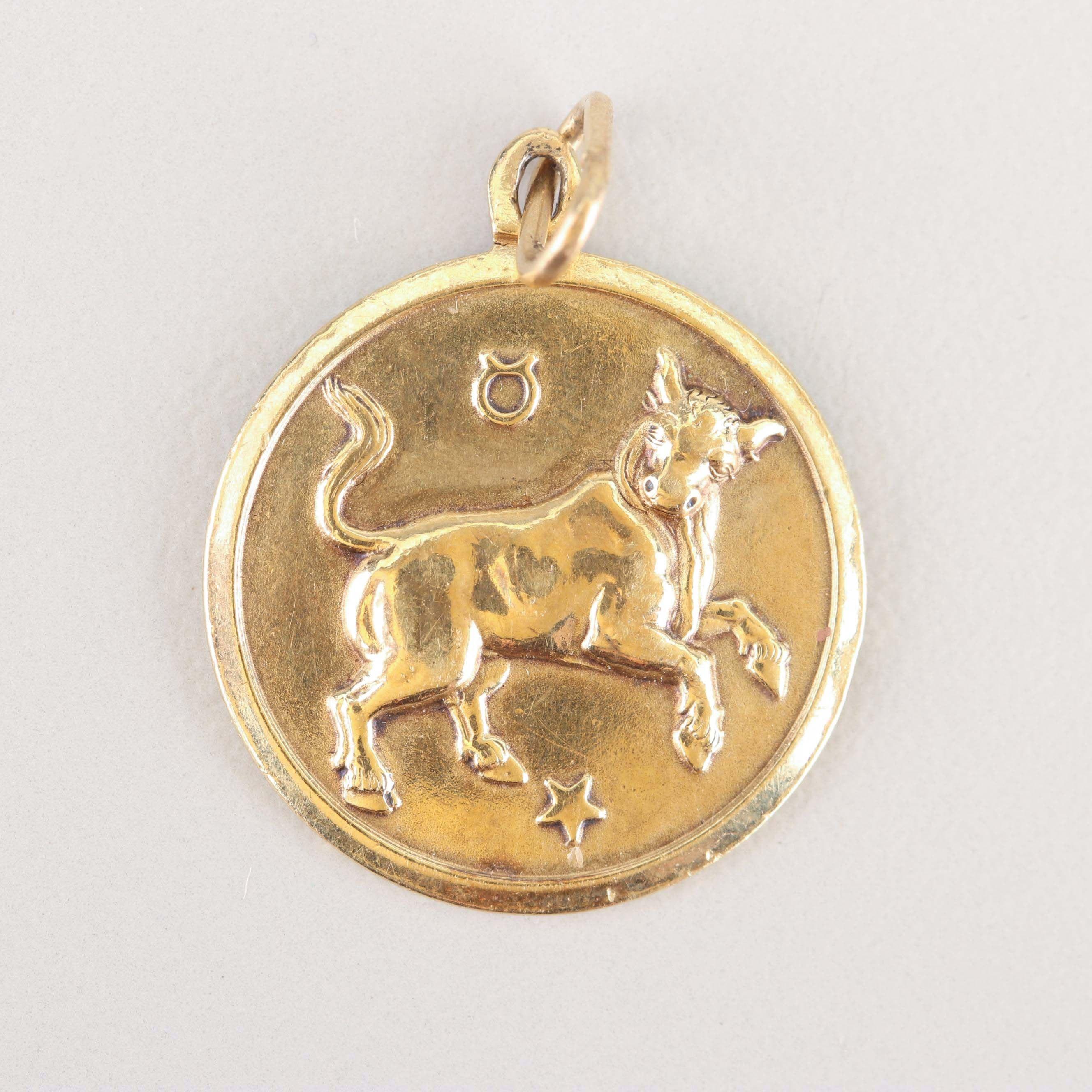 14K Yellow Gold Taurus Pendant