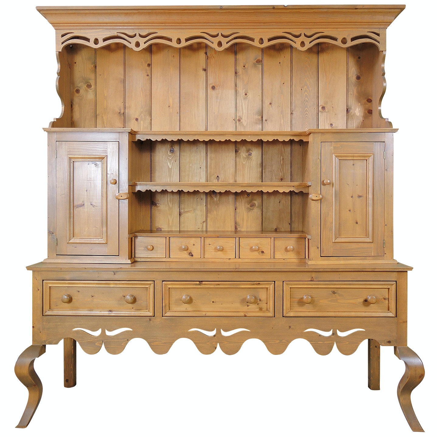French Provincial Style Custom Crafted Pine Cupboard