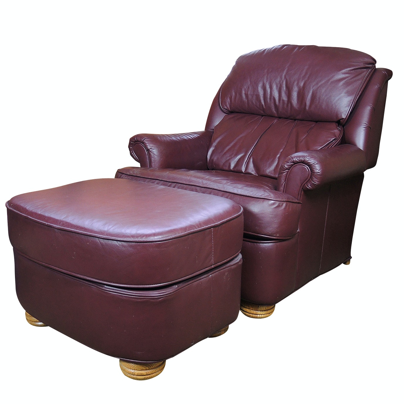 Contemporary Leather Barca Lounger Reclining Armchair and Coordinating Ottoman
