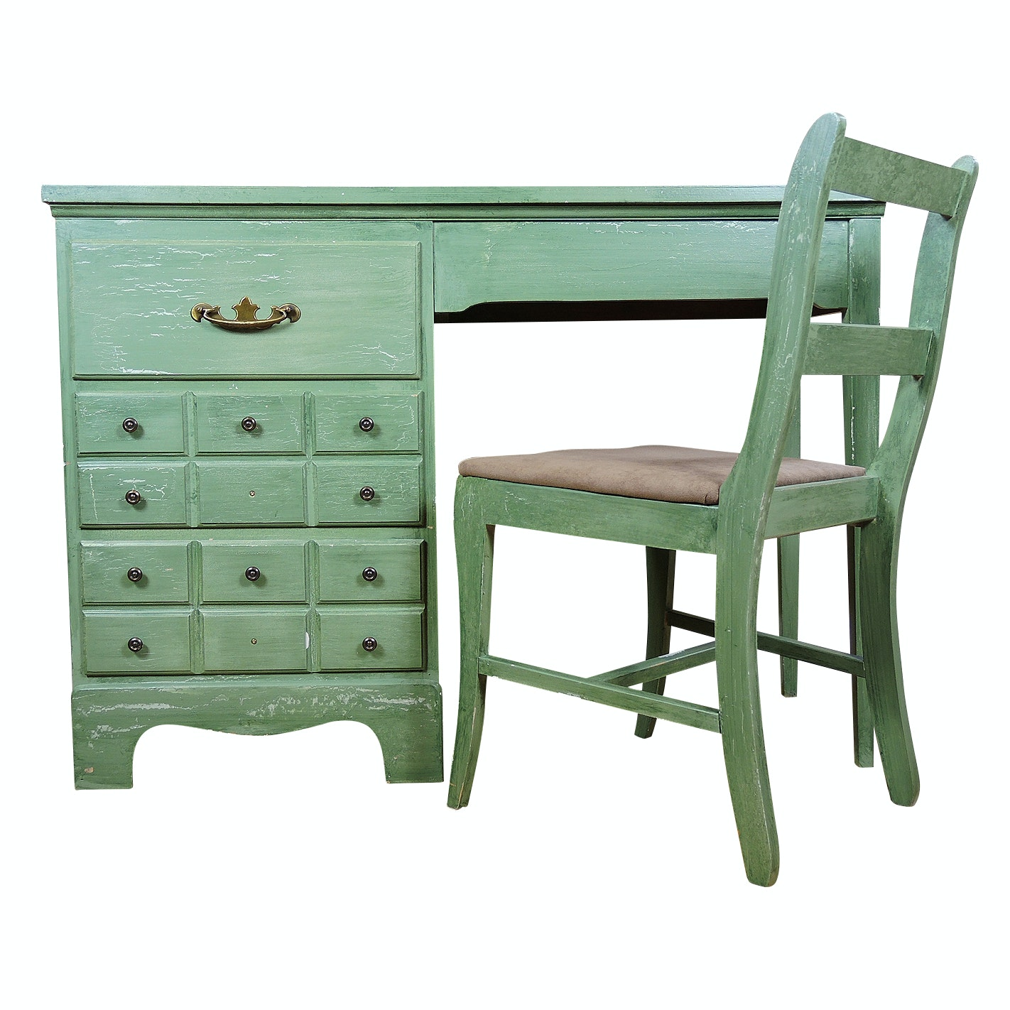 Federal Style Painted Wooden Student Desk and Chair, Mid 20th Century